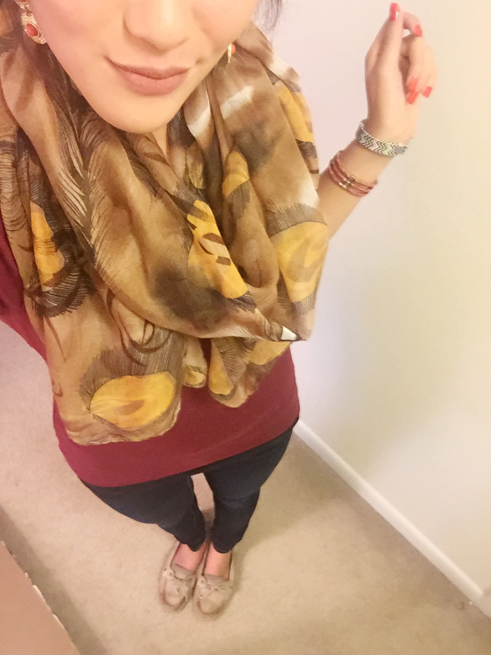 Shirt: Old Navy / Earrings: Target / Scarf: gift / Yoga Pants: Victoria's Secret / Shoes: Sperry