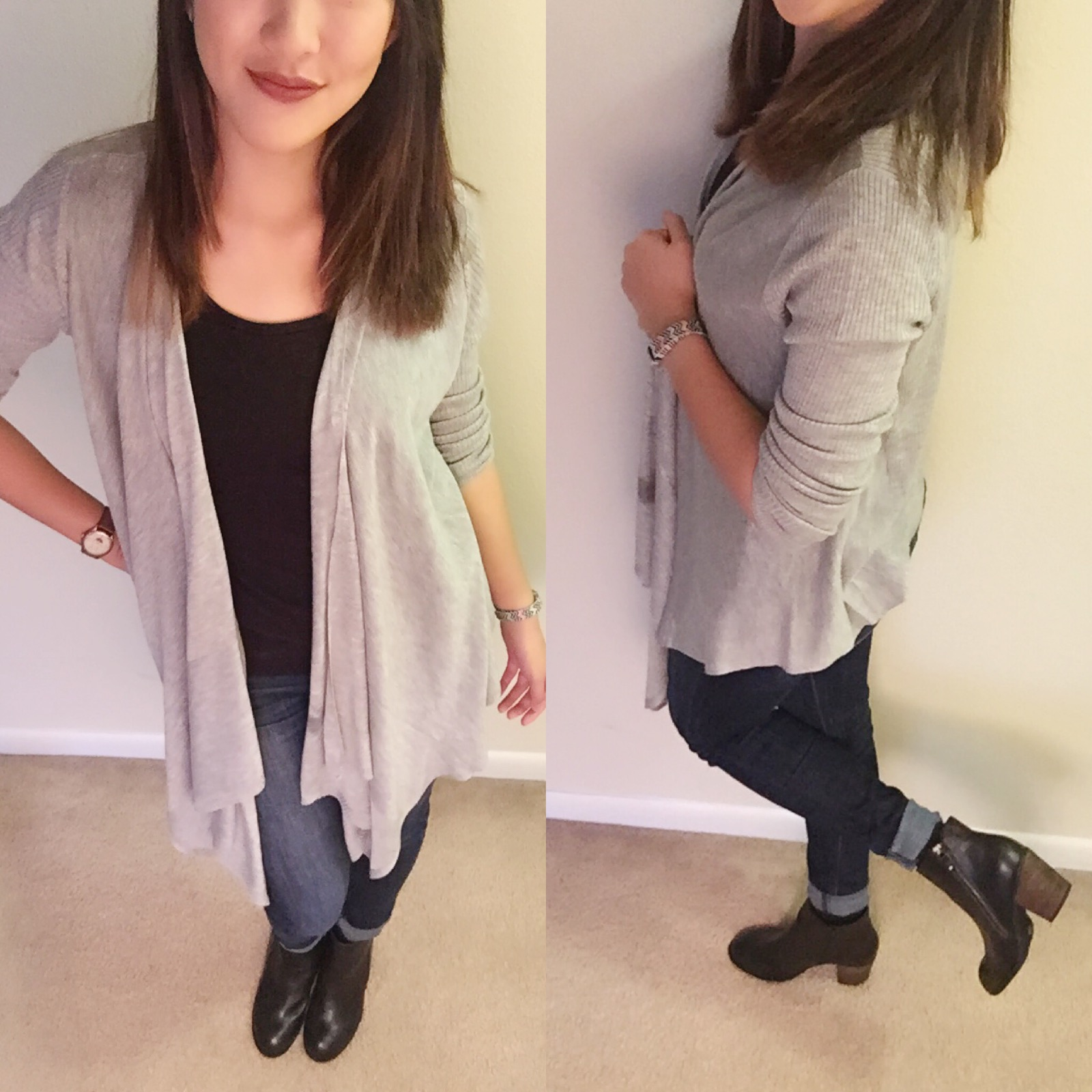 Shirt: F21 / Cardigan: Target / Jeans: American Eagle / Boots: DSW / Lip liner: Lord & Berry