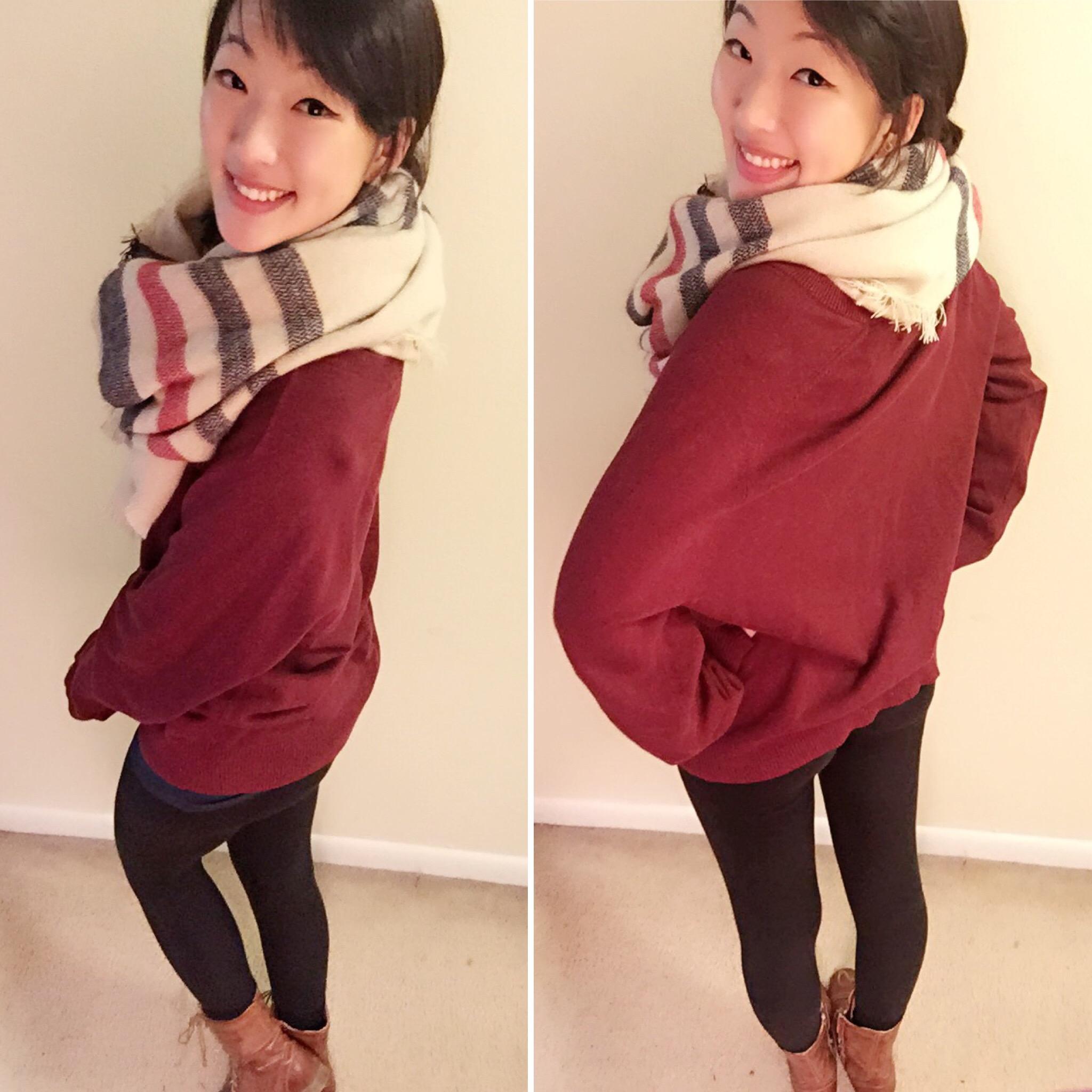 Sweater: Old Navy (Men's)/Scarf: Francesca's/Leggings: Victoria's Secret/Boots: Zappo's/Earrings: Target