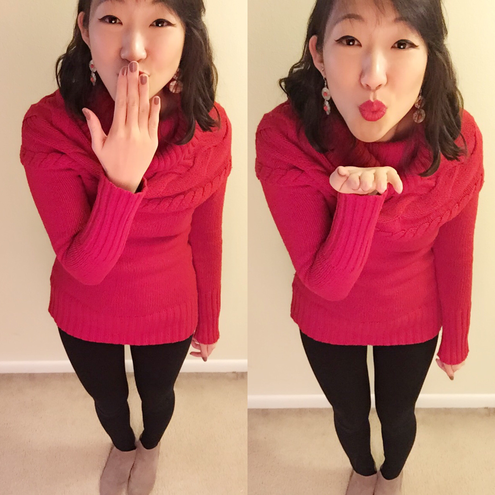 Earrings: Target/Lipstick: Colour Pop Cosmetics/Sweater: Ann Taylor Loft (Thredup), Similar one:  Here /Booties: Ninewest