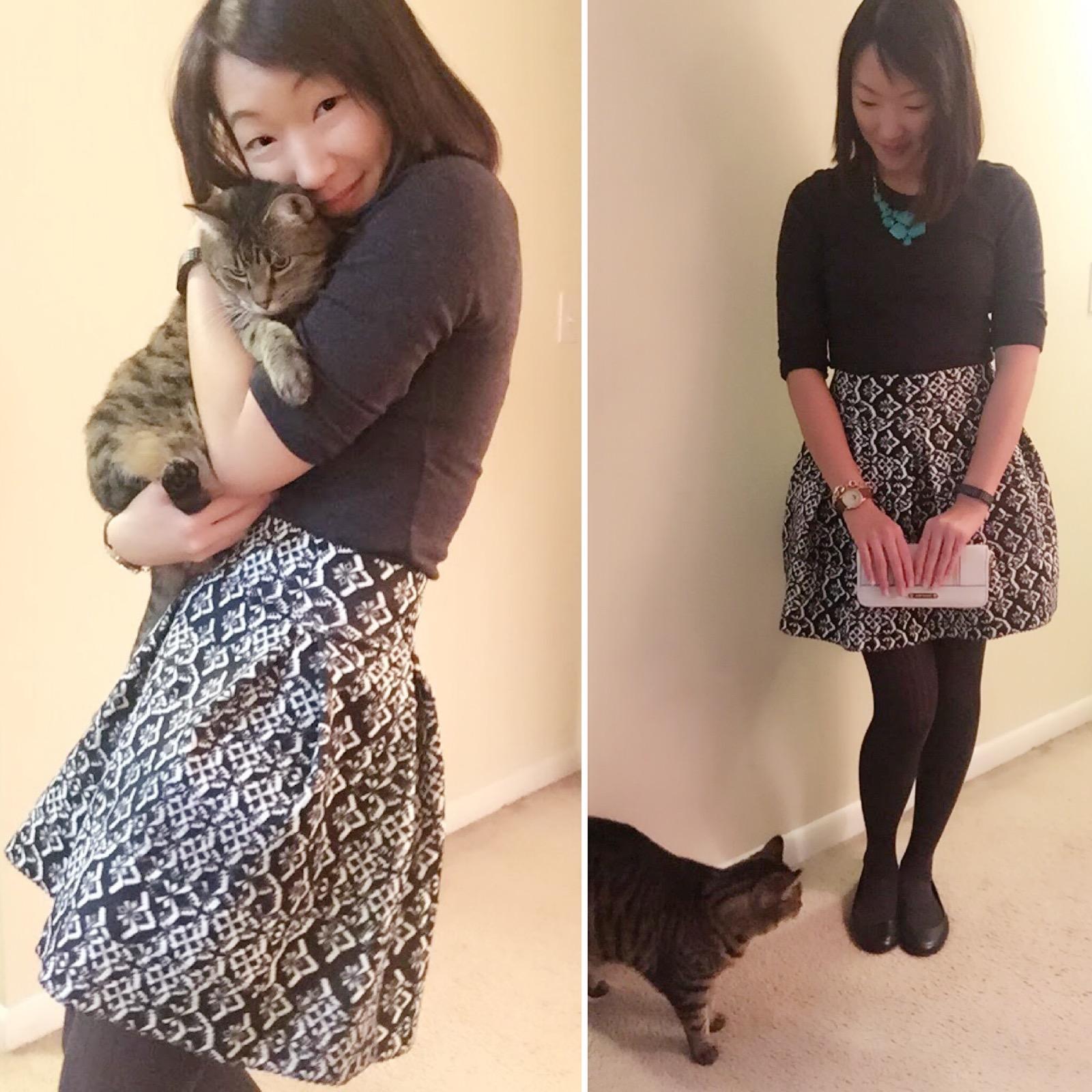 Necklace: Forever 21 ( Similar )/ Shirt: Old Navy ( Similar )/Skirt: Target ( Similar ) / Shoes: Payless ( Similar )/ Watch: Urban Outfitters ( Similar ) / Wallet:  Michael Kohrs  / Cat: Gift ( Similar: PAWS Chicago ) 😛