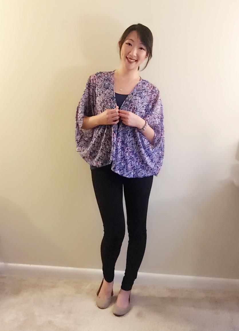 Kimono Top  /  Yoga Pants /  Flats /  Necklace /   Lipliner  /   Fitbit Bands