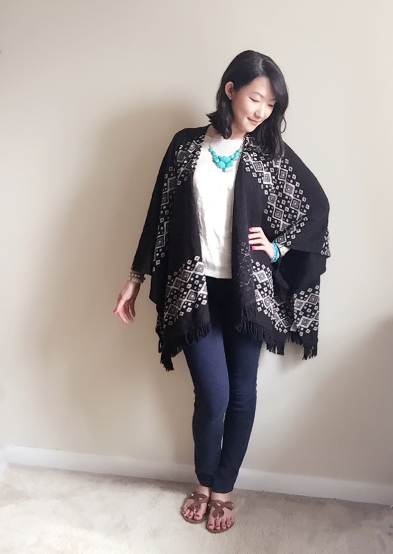 Poncho: Target / Jeans: Forever 21 / Shirt: Express / Necklace: Forever 21 / Sandals: Target / Watch: FabFitFun / Bracelets: H&M, Forever 21