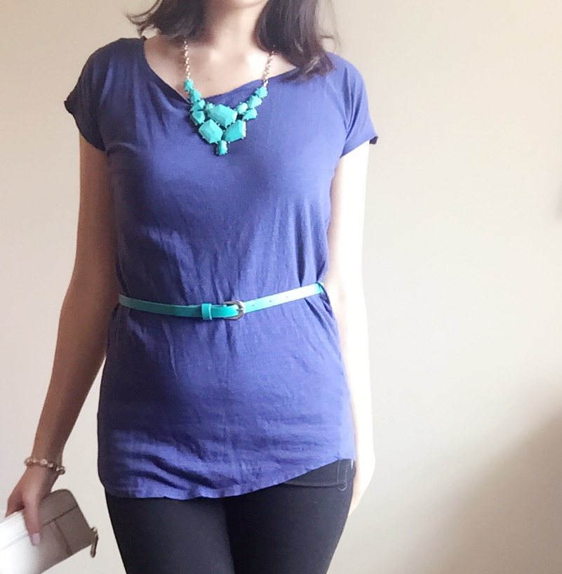 Top: Forever 21 / Necklace: Forever 21 / Belt: H&M /Pants: Target / Shoes: Sperry