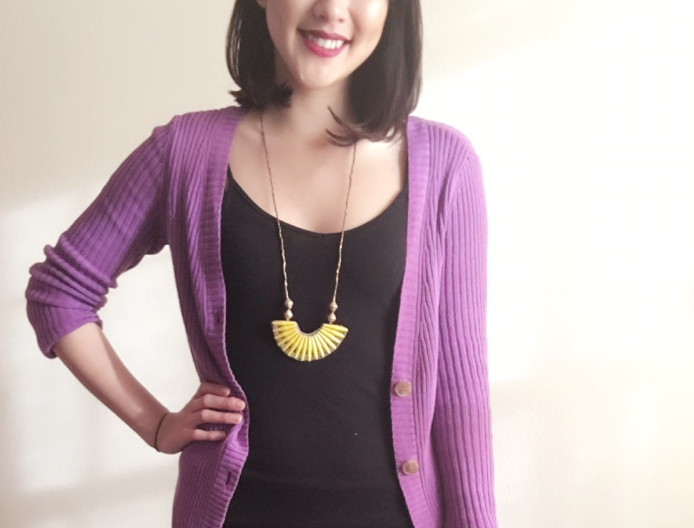 Necklace: 31 Bits / Sweater: Gift / Flats: Target / Lipstick: Colour Pop in LBB