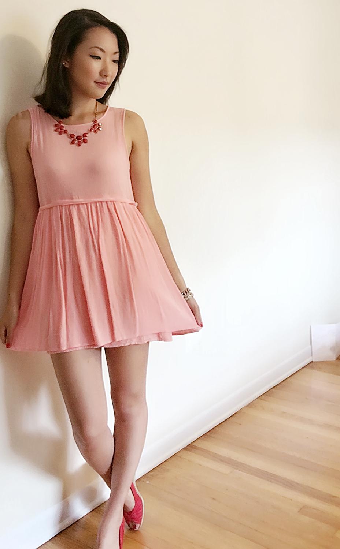 Dress: Forever 21 /Necklace:  Charming Charlie's  / Shoes: Payless / Lipstick:  Colour Pop in Lumiere  / Bracelets: Francesca's & Luv Aj