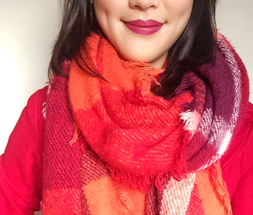 Coat: Wilson's Leather / Scarf: Francesca's / Headband: Hand-knitted! / Lipstick: Revlon Matte Balm in Sultry