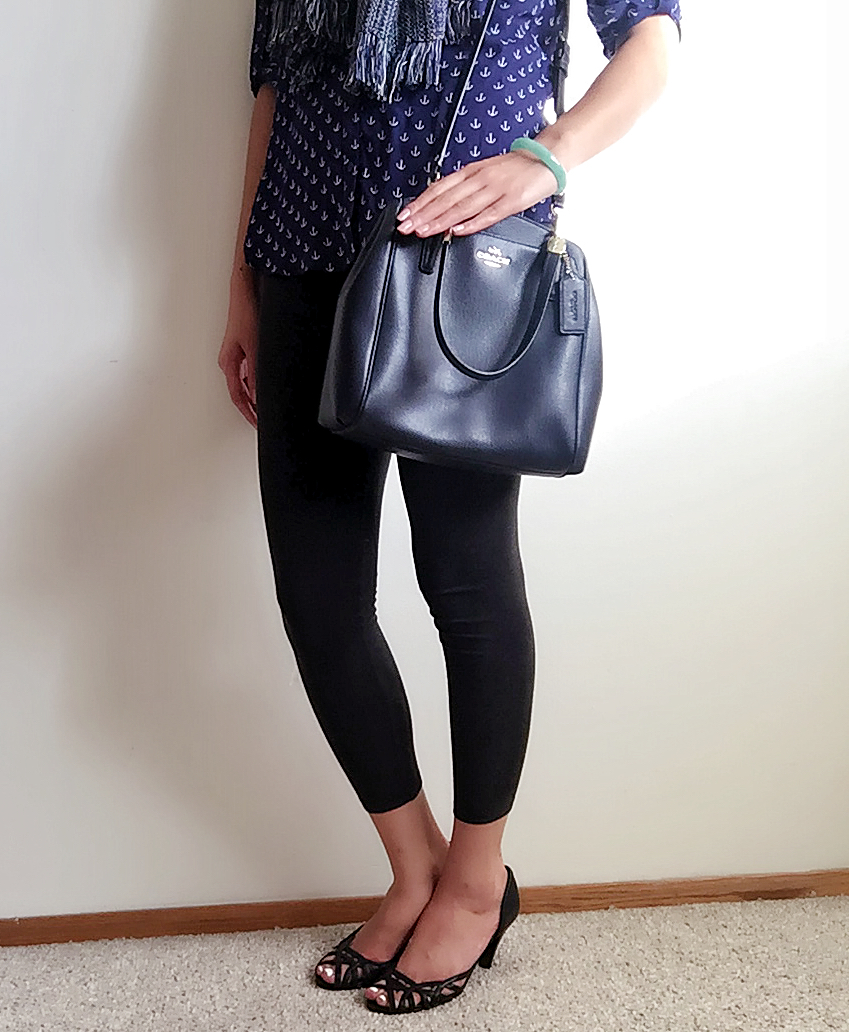 Top: Express / Scarf: Gift / Bag: Coach / Earrings: Kohl's / Shoes: Goodwill Find!