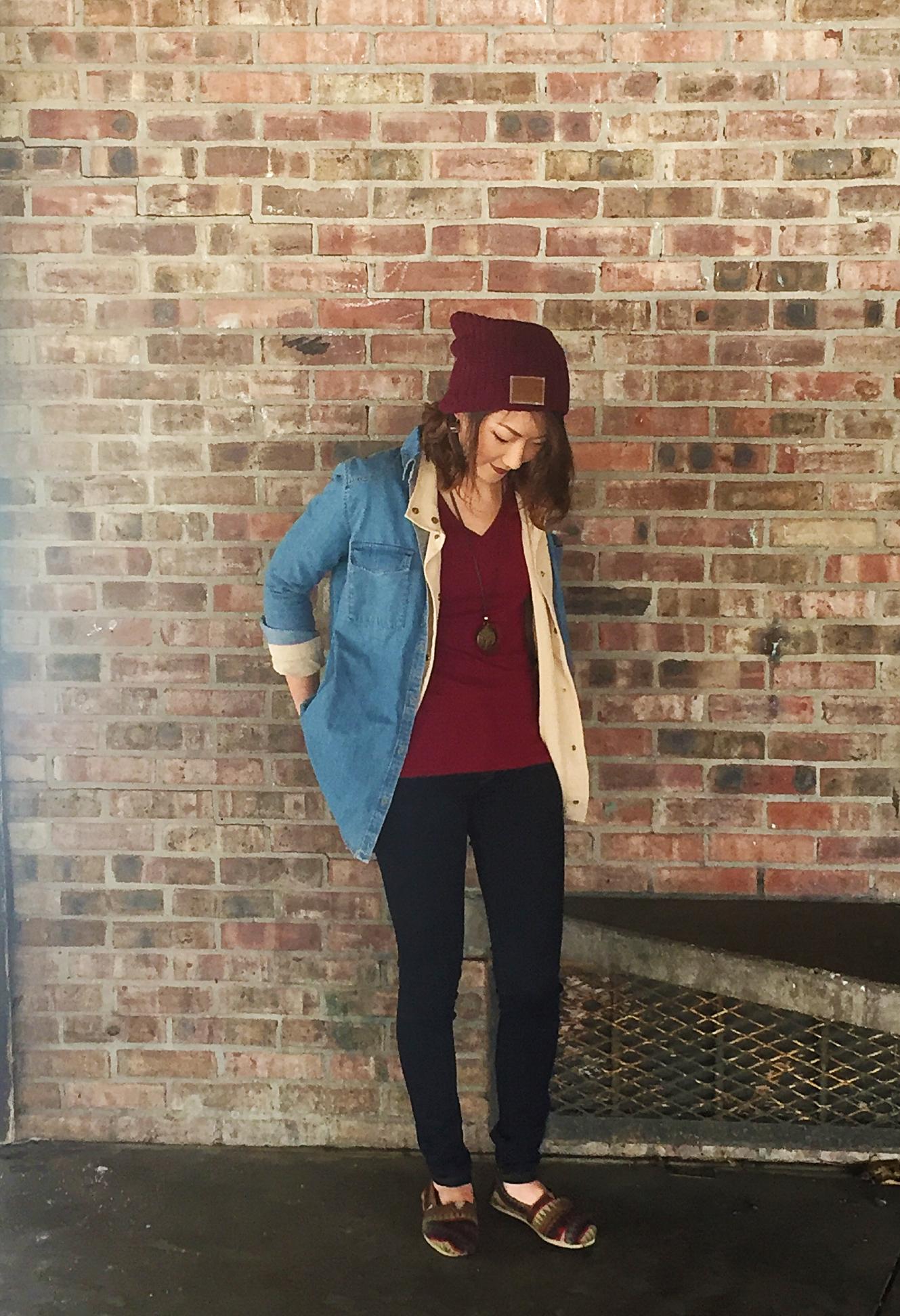Jean Jacket: H&M / Beige Jacket: Zara / Beanie:  Love Your Melon  / Necklace:  StylebyKenlee  / Shoes: Toms / Lips:  Colour Pop in Frick N' Frack
