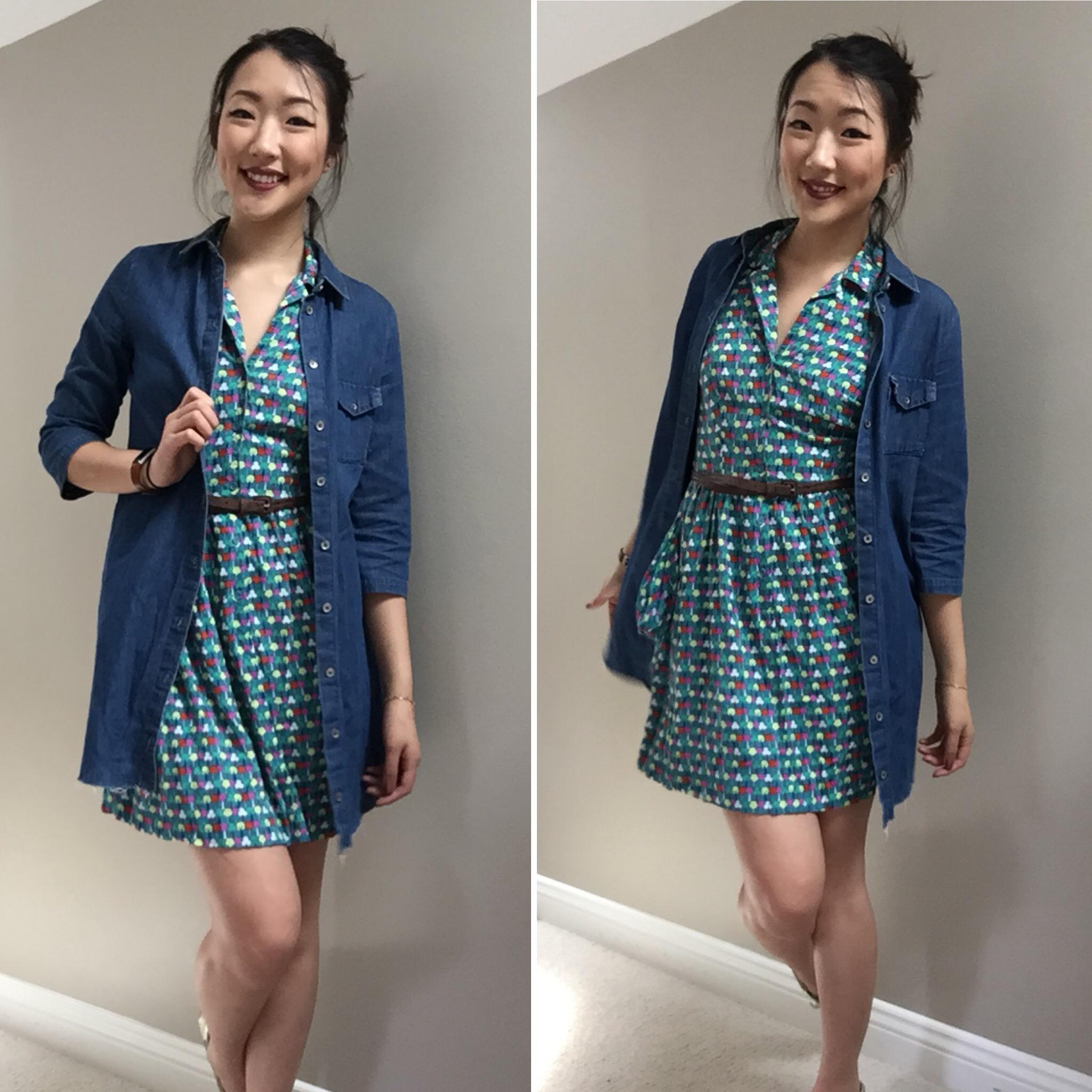 Colorful Dress: Target / Denim Dress: Zara / Shoes: Sperry / Lipstick: Colour Pop