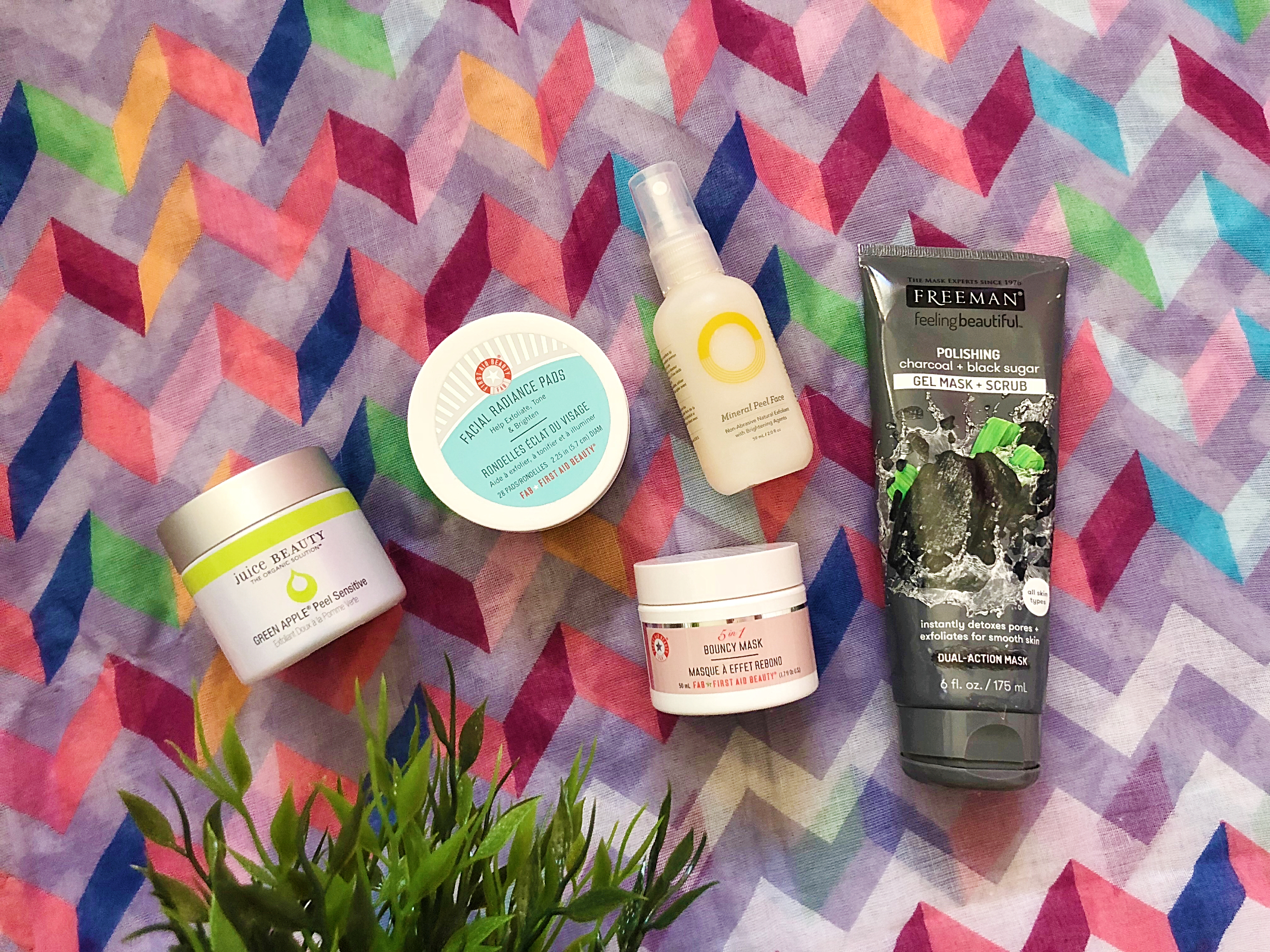 More Favorites!  First Aid Beauty Facial Radiance Pads ,  First Aid Beauty 5-in-1 Bouncy Mask ,  Juice Beauty Green Apple Sensitive Peel ,  O.R.G. Skincare Mineral Peel Face Exfoliator ,  Freeman Polishing Charcoal and Black Sugar