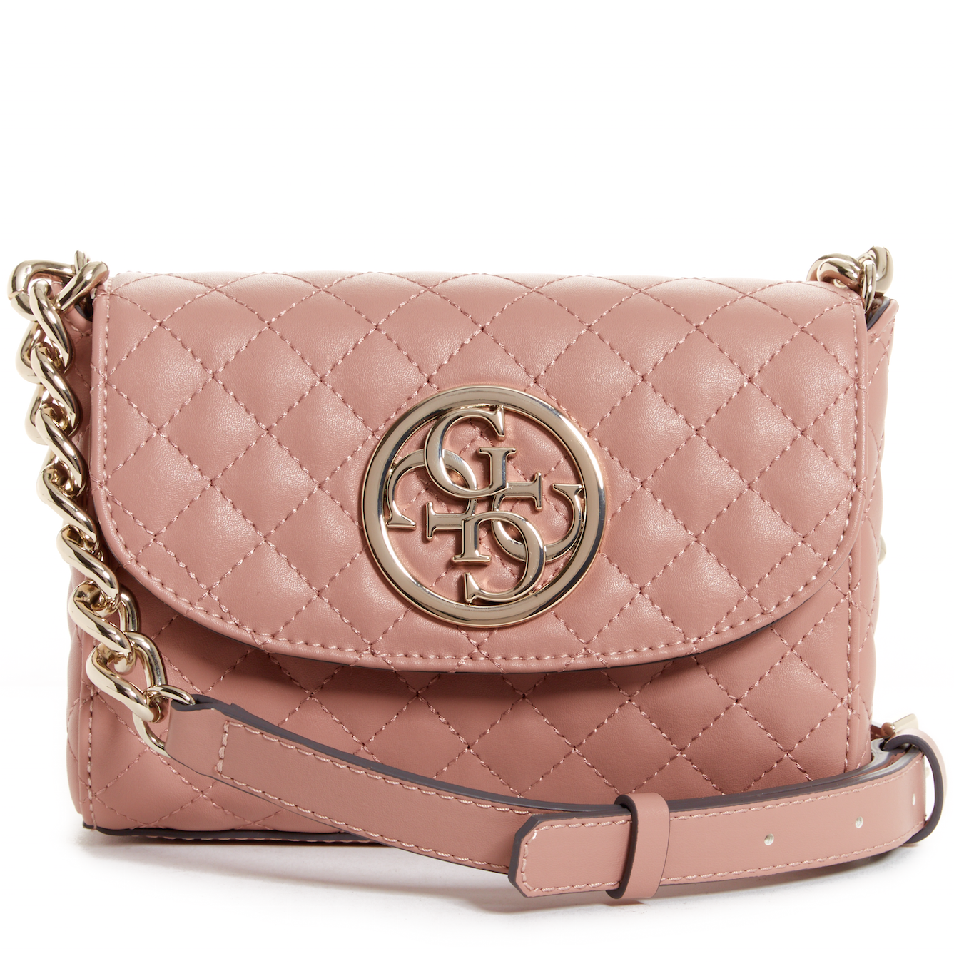 This rose gold shoulder bag is gorgeous to go from day to night
