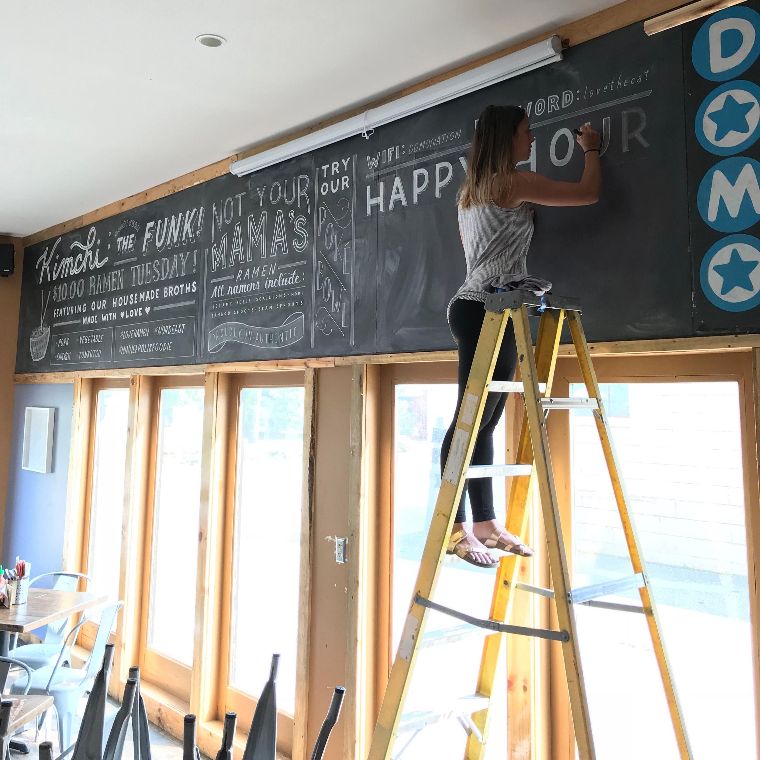 chalk menu wall mural local restauran sign work