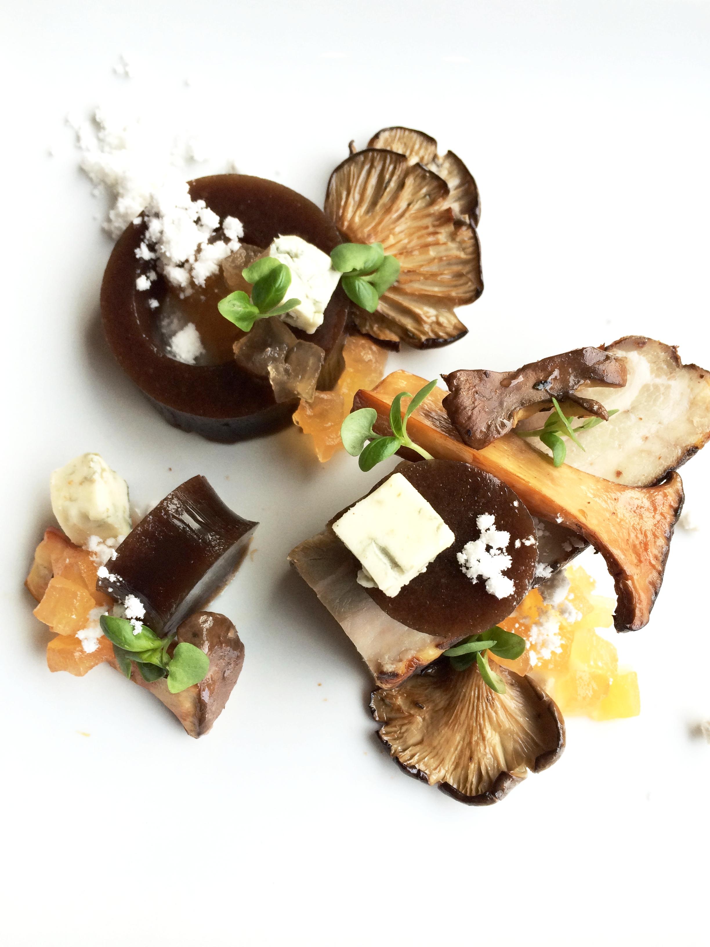 Smoked Mushrooms, Sherry Porcini Gelee, Feta