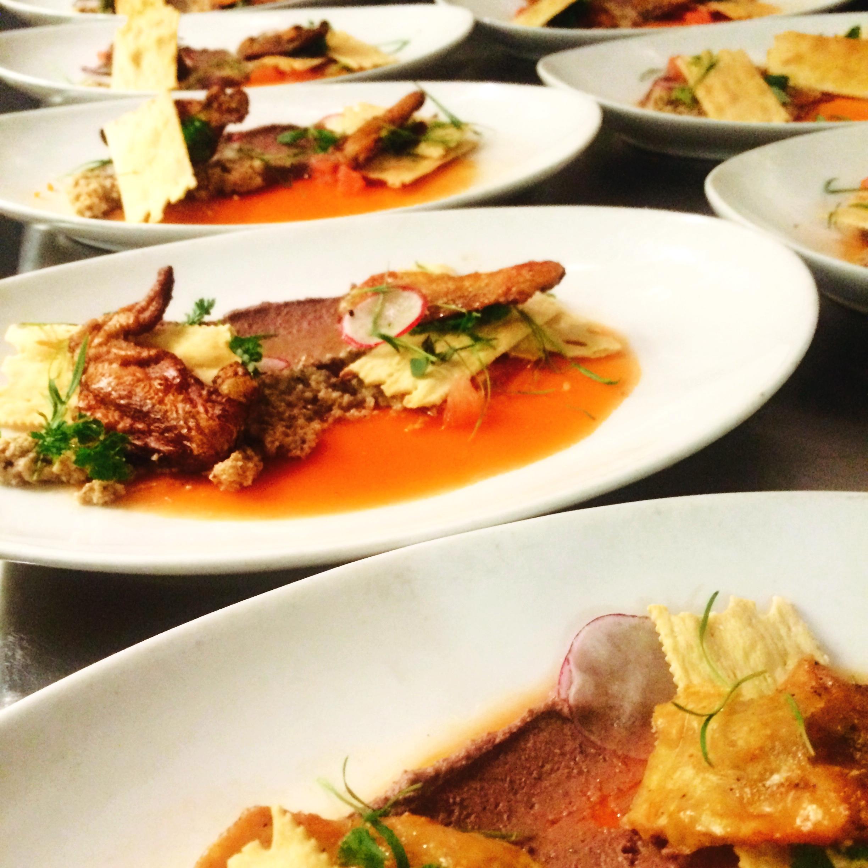Chicken Liver, Chicken Cracklins', Carrot Aspic