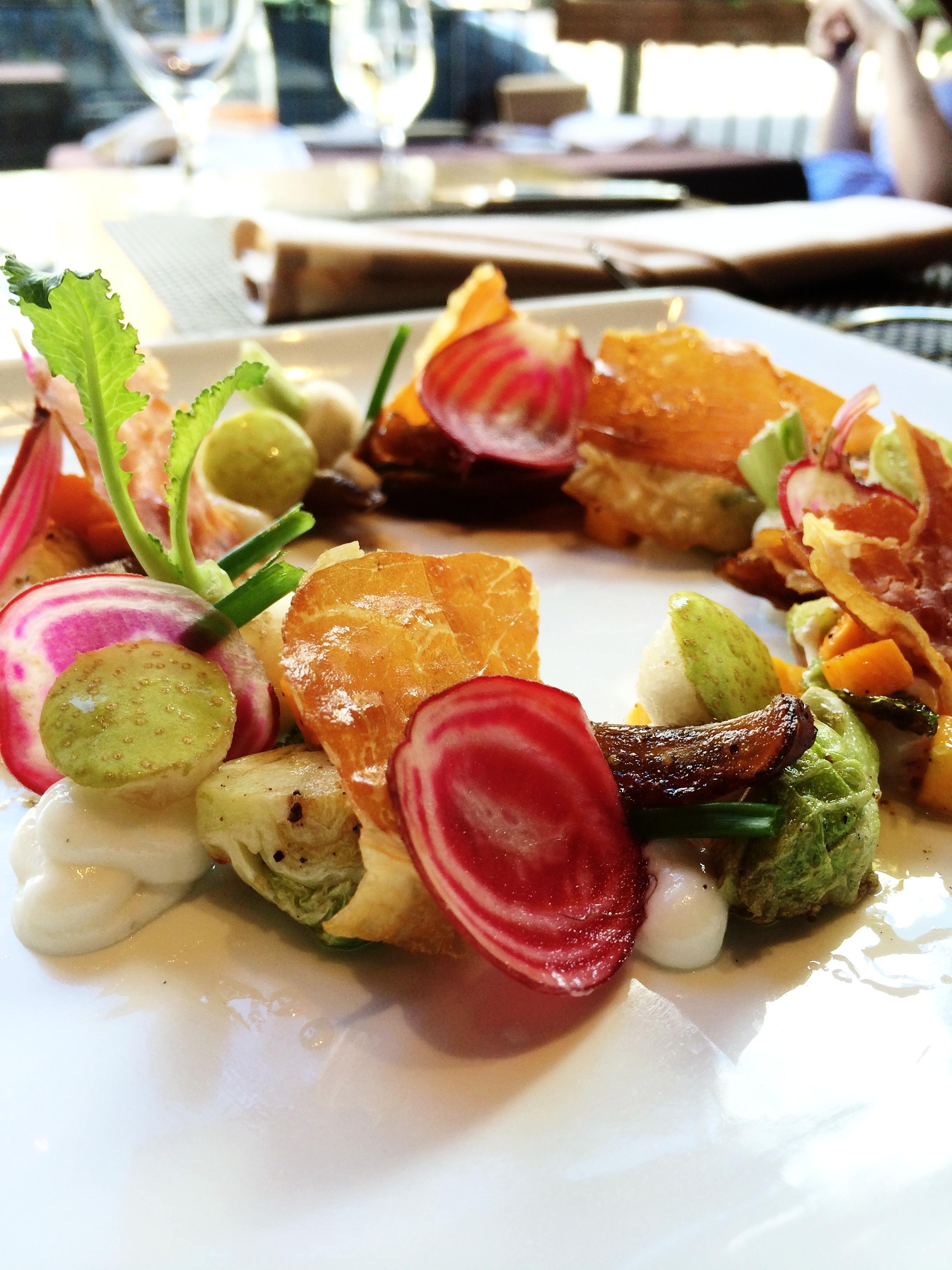 Fall Salad of Brussels, Asian Pear, Chiogga Beet, Ham Chips, Ham Vinaigrette