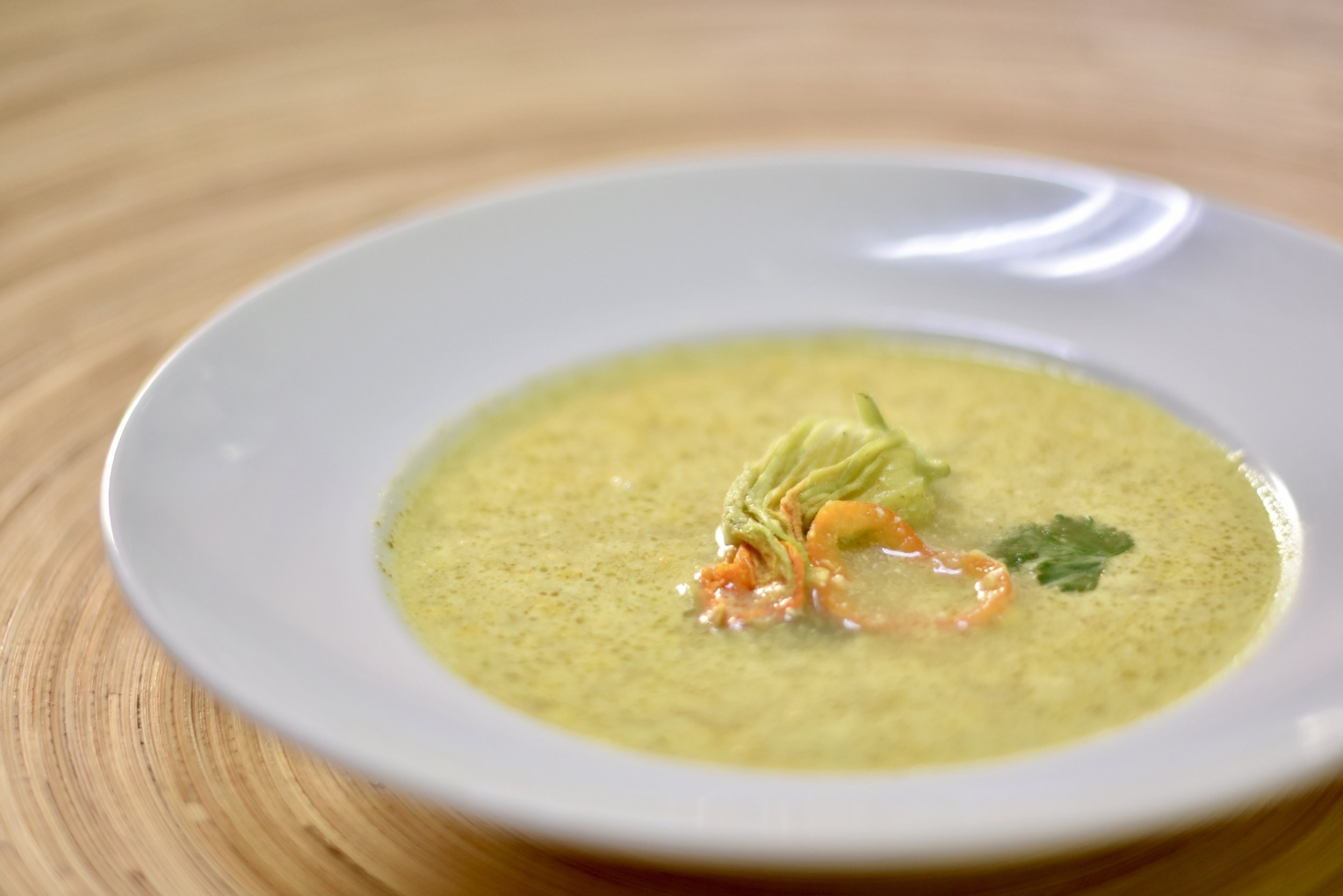 Corn Soup: Corn Cob Broth/Fresh Corn Kernels/Flor de Calebaza