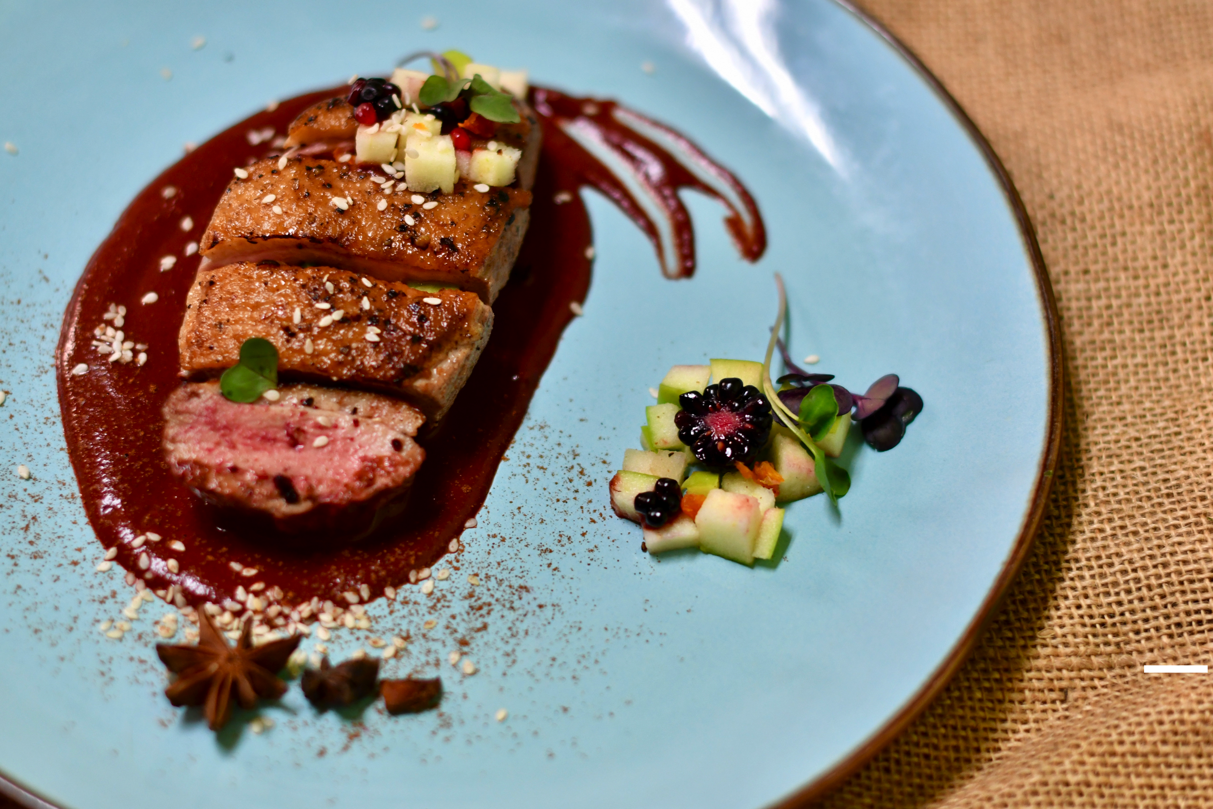 Seared Mary's Duck Breast/Blackberry Mole/Mango-Pepino Salsa