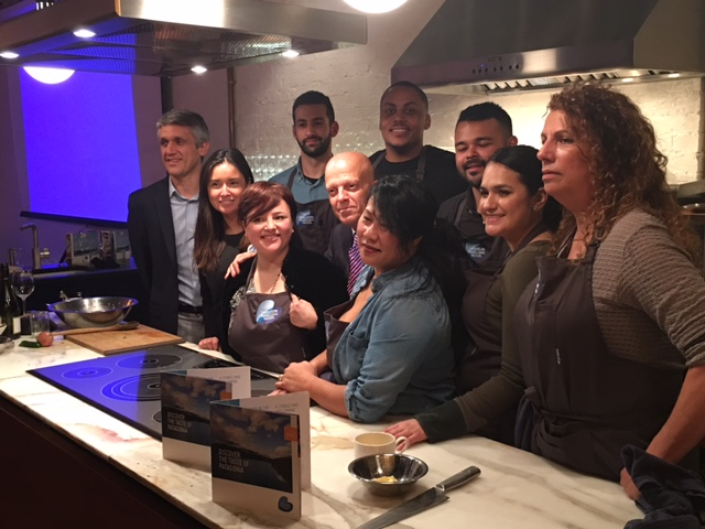 Chef Andrea Lawson Gray (back row, far right) and Chef Sophina Uong (front row, far right) compete in Chef's Roll's Patagonia Mussel Project