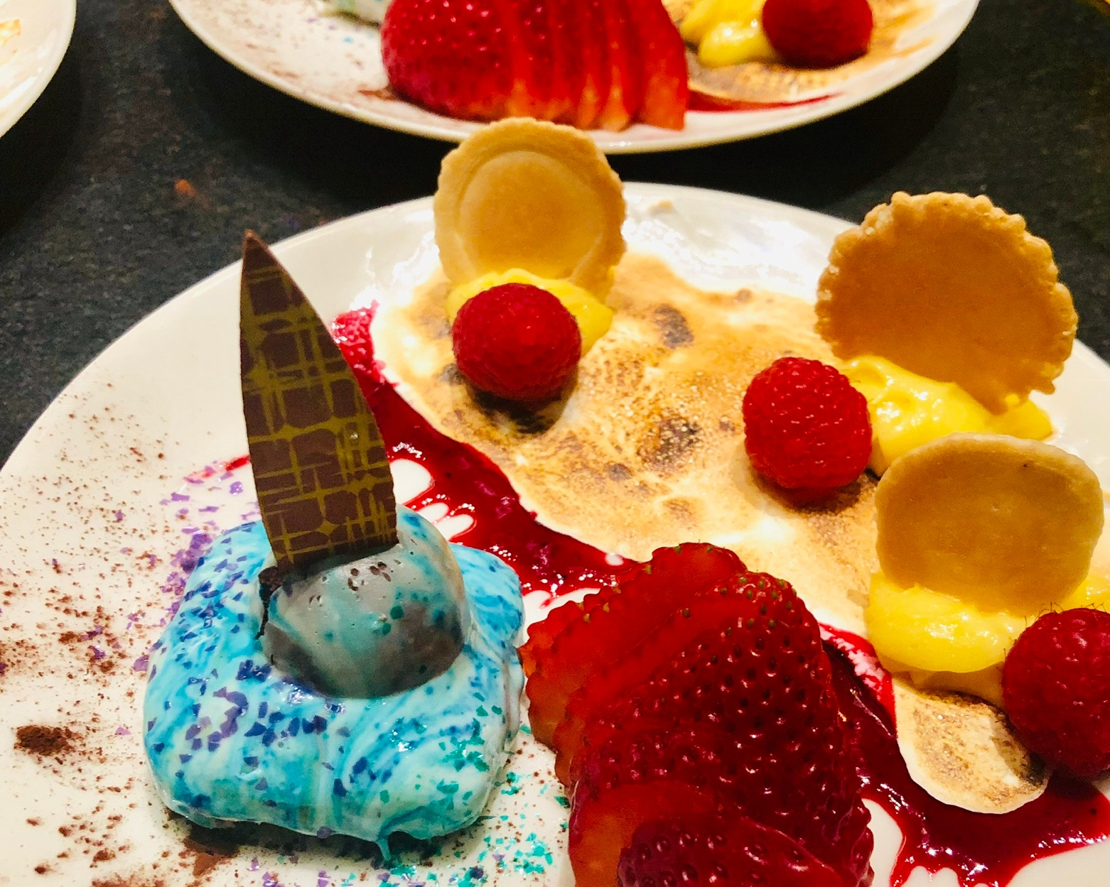 Party on a Plate: Reversed Lemon Meringue Pie/Chocolate Mousse Brownie/Raspberry Coulis