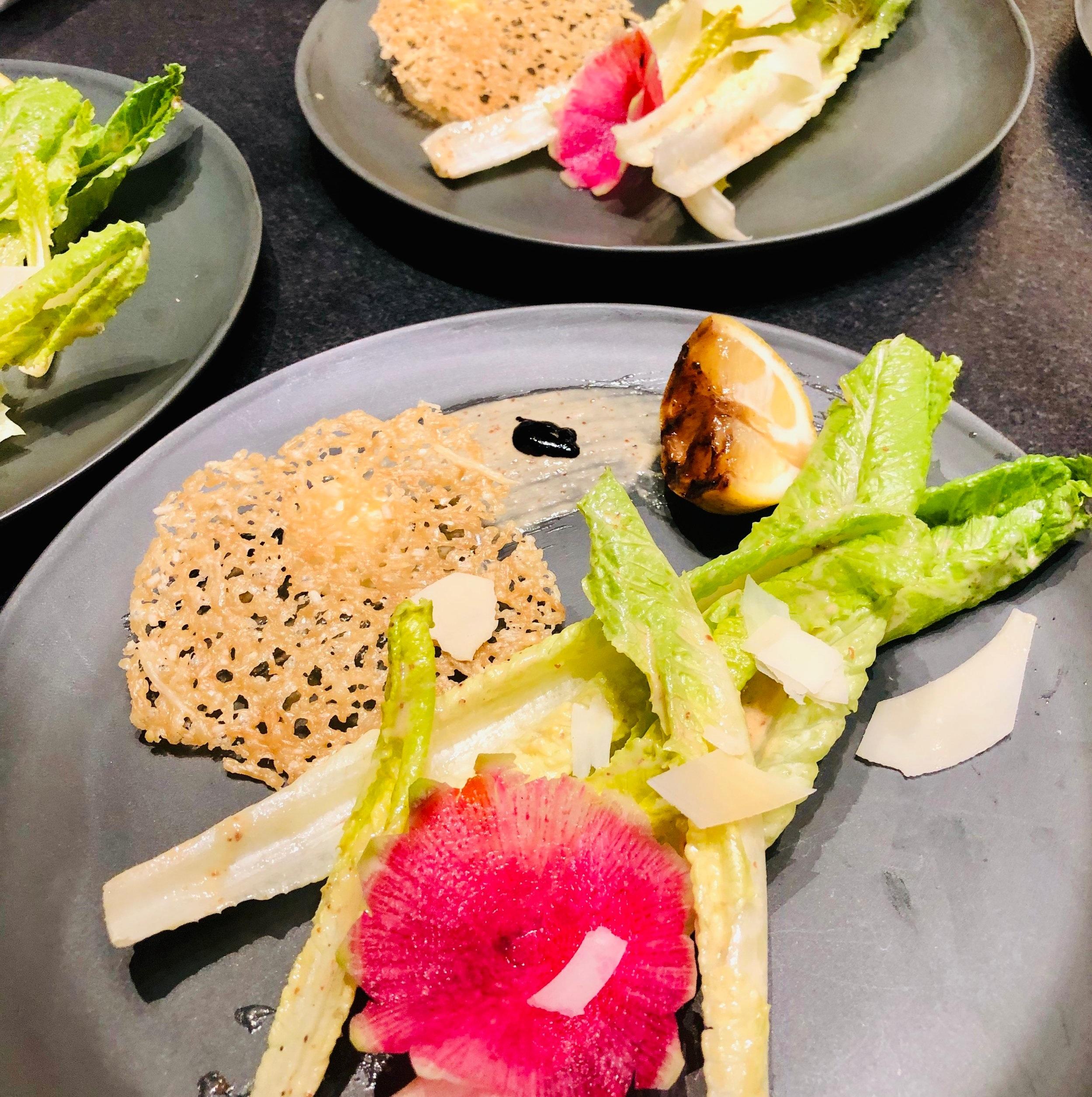 Bistro Caesar:  Watermelon Radish/Parmesan Crisp/Grilled Meyer Lemon/Local Chevre Mousse