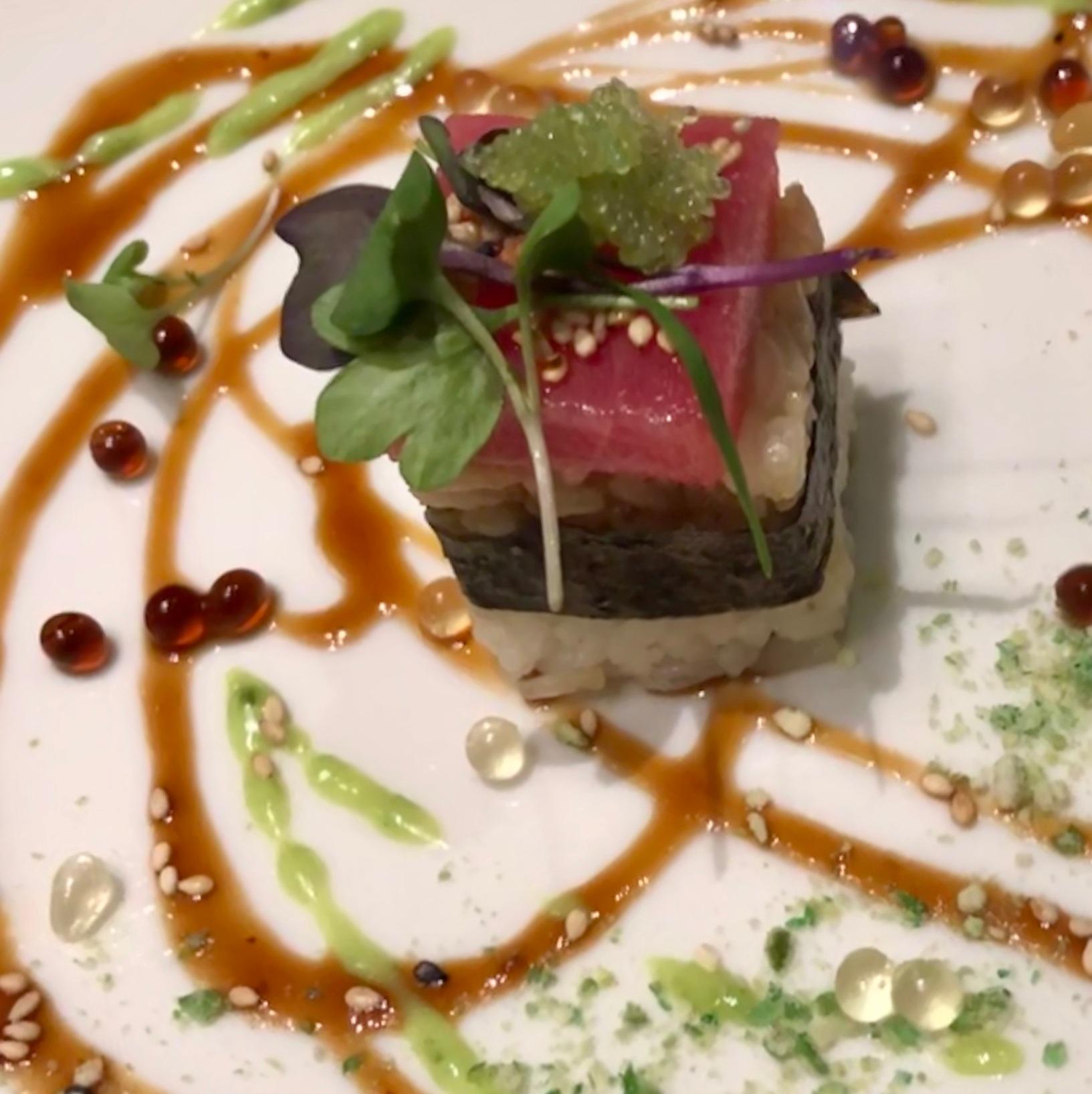 Tuxedo Tuna: Ahi Tuna Soy Pearls/Yuzu Pearls/Wasabi Sauce/Wasabi Caviar/Wasabi Pea Dust