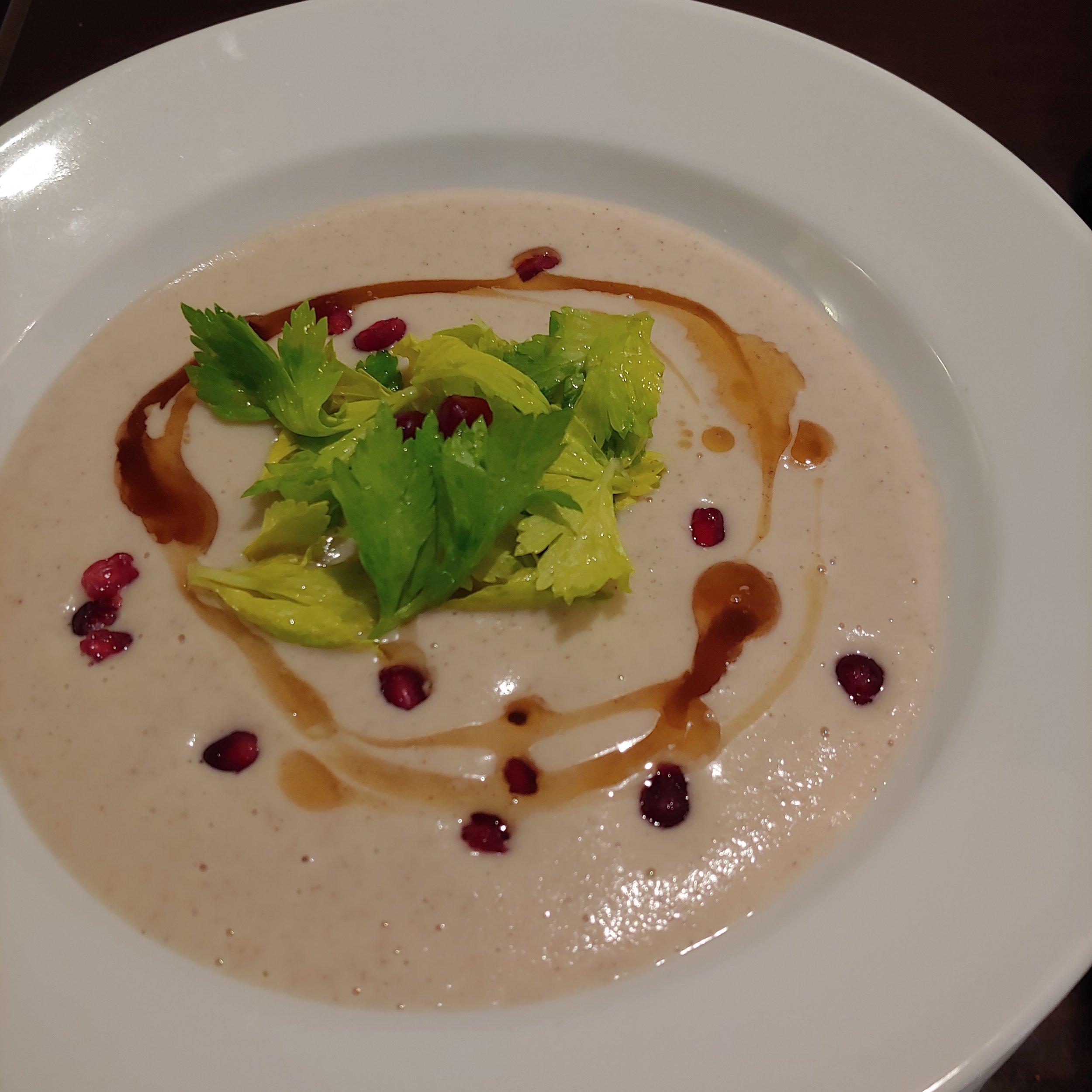 PARSNIP & HAZELNUT SOUP Brown Butter, Celery Leaf, Pomegranate