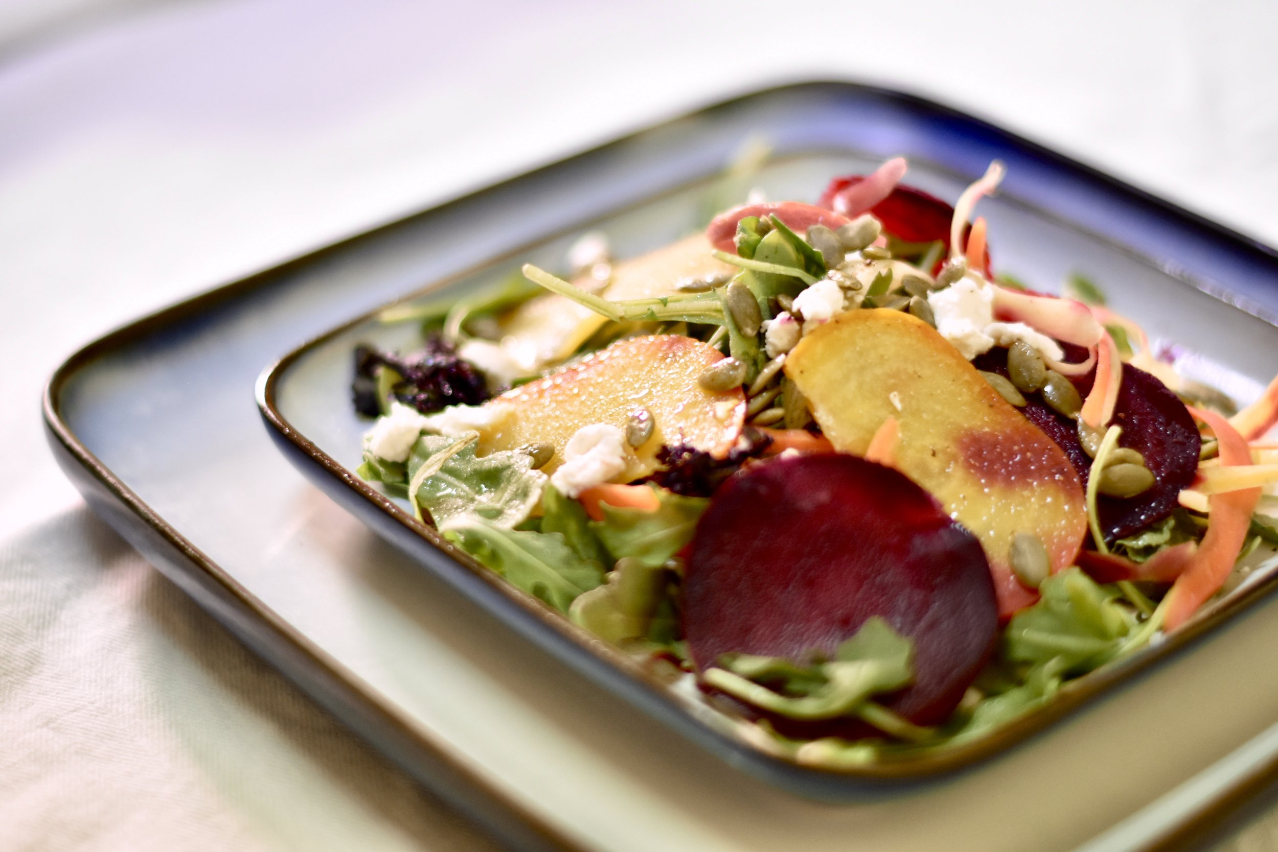 Golden & Red Smashed Beet Salad/Ricotta Salata/Pumpkin Seeds/Crispy Garlic Chips