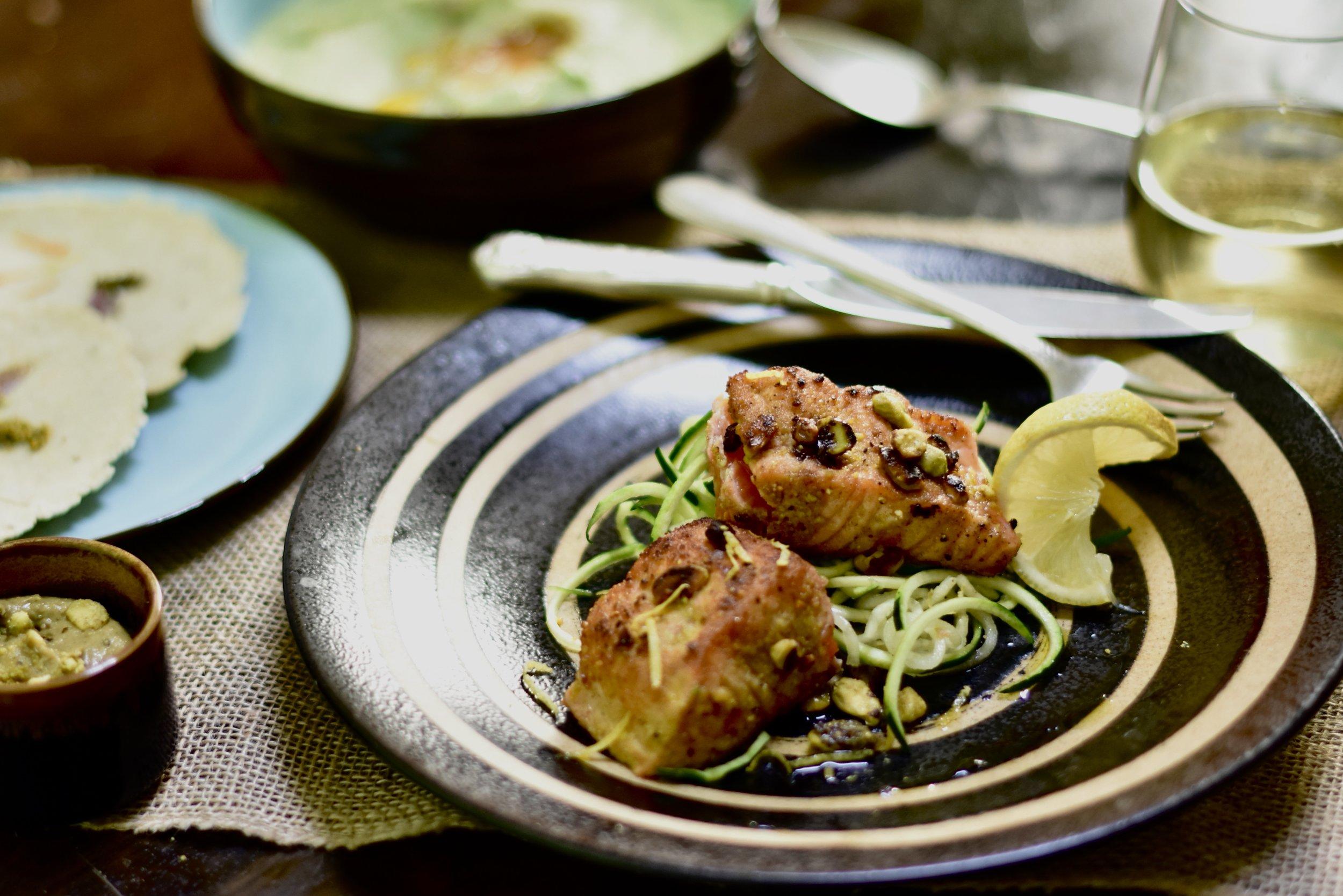 Pistachio-crusted Salmon/Zucchini Noodles/Pistachio Pipian