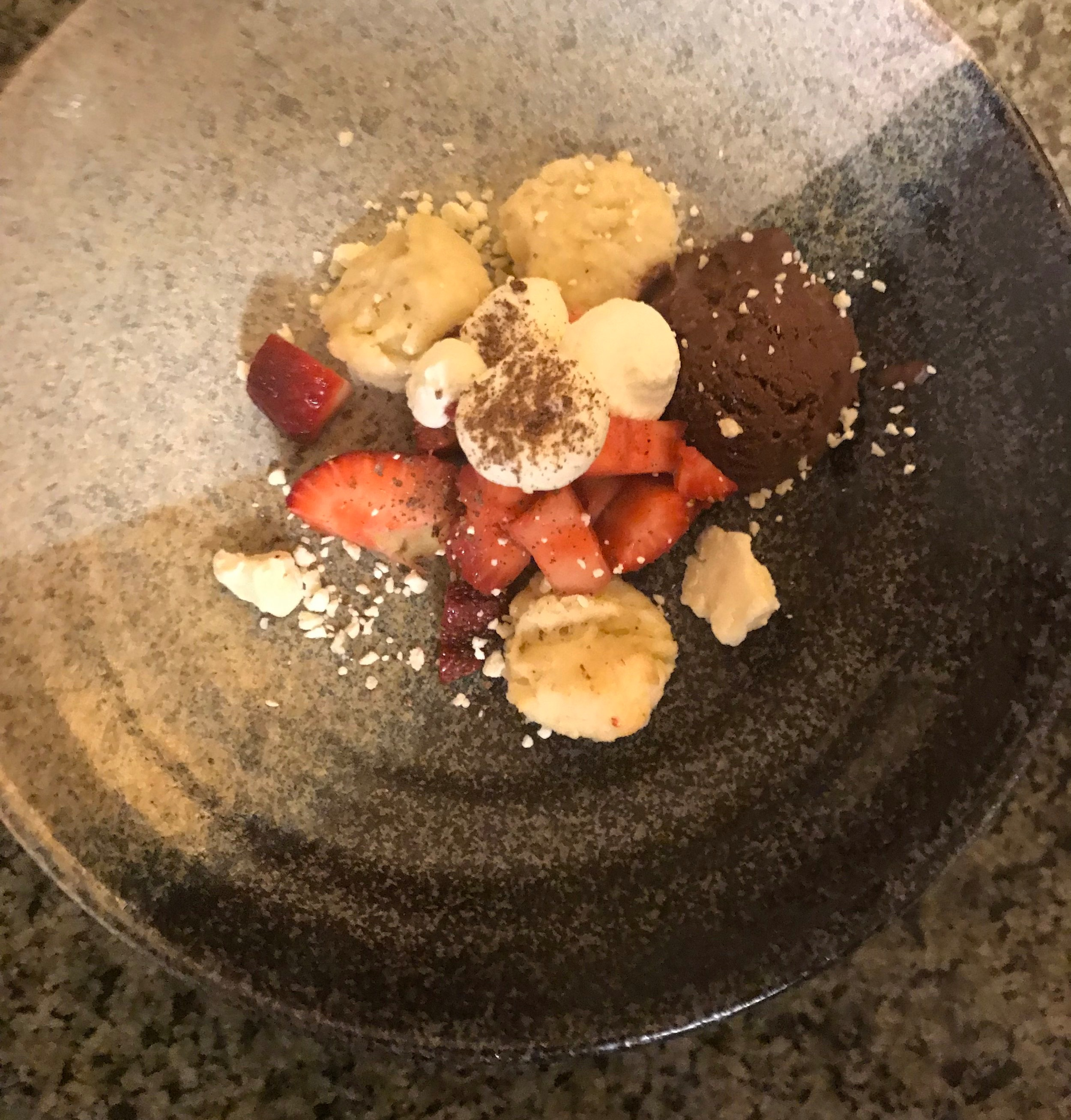 Deconstructed Strawberry Shortcake/Dandelion Chocolate & Corn Sorbet