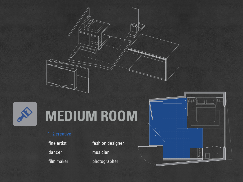 Medium room accommodates up to two creatives who is a fine artist, dancer, film maker, fashion designer, and a photographer, because they are hands on working, so 50% of the space is dedicated to work.