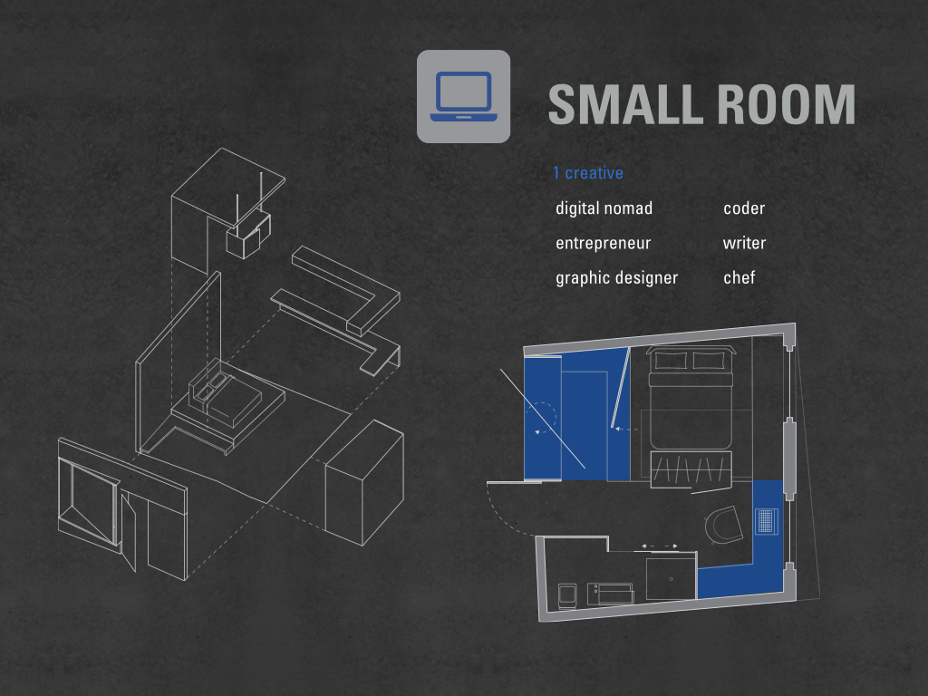 The small room accommodates one creative who is a digital nomad, entrepreneur, graphic designer, coder, write and a chef, because they mostly use laptop to work so 25% of the space is dedicate to work.