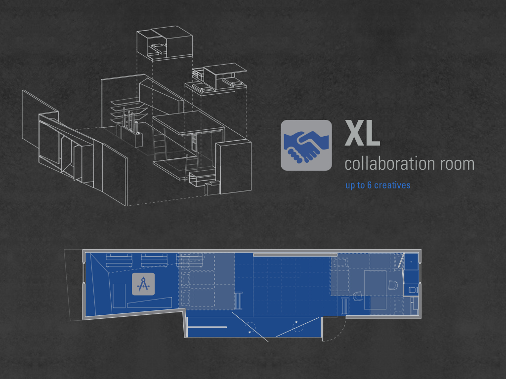 The XL collaboration room accomandates up to six creatives, the lower level is for work and upper level for sleep. There is a tool shed, 100% of the lower space is dedicated to work.