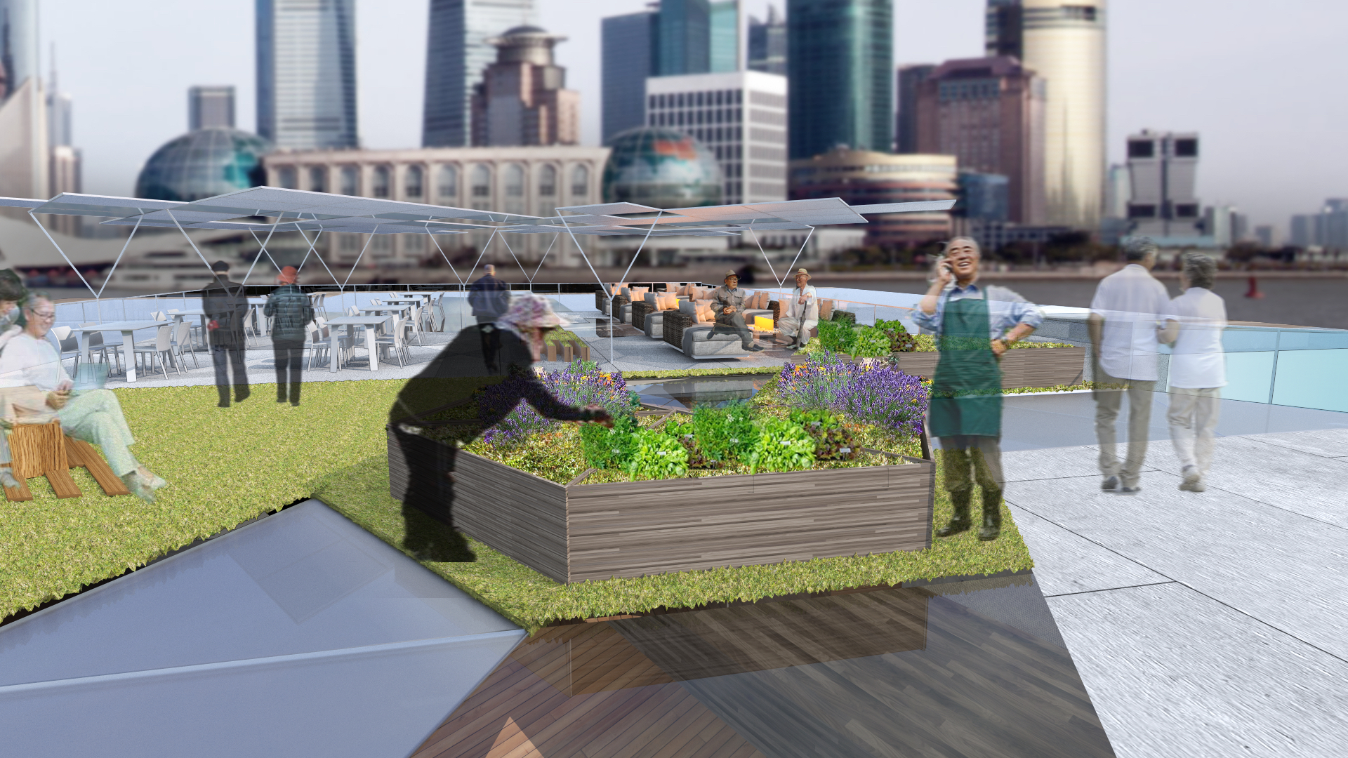 In the morning, elders could use the community gardening space to plant veggies or they could rest in lounge to enjoy the view.