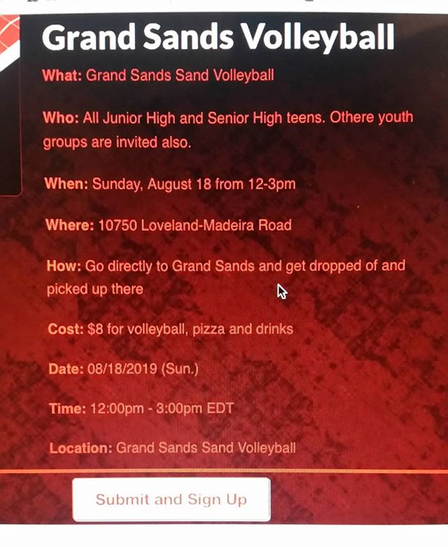 Hey gang, this is happening tmrw at noon! $8 gets you volleyball, pizza & drinks and time with friends before school starts! Hope to see y'all there!