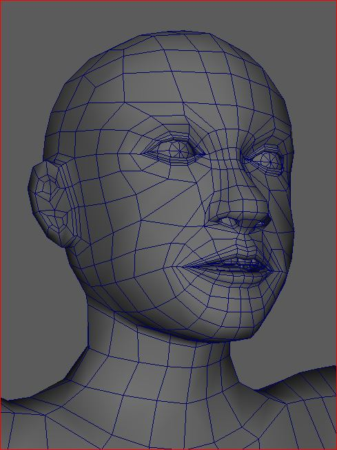 Close up of the face of the Low Poly Base Model created in Maya