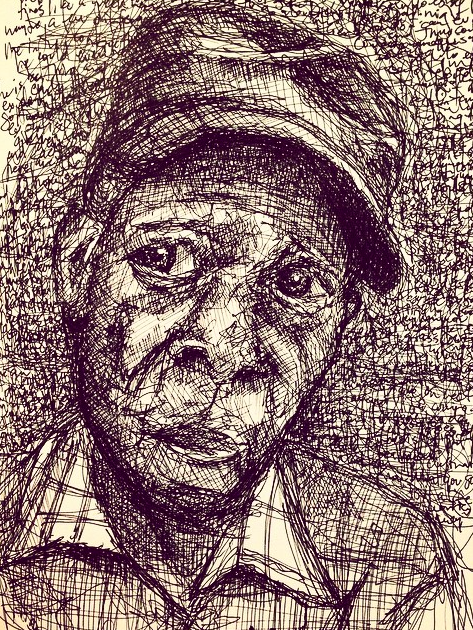 I've been sketching some portraits with pen lately. Here's one of  L.C. Ulmer , a Mississippi blues musician.