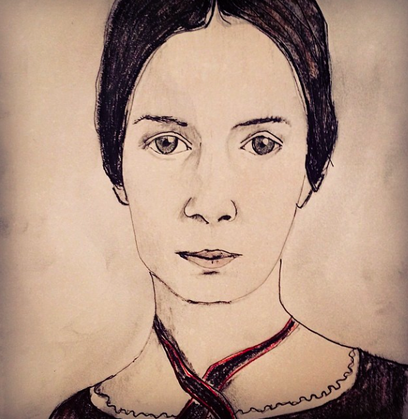 I just recently learned that I'll have my very first art show this August. The University of Arizona Poetry Center asked if I'd display some of my portraits in their gallery space throughout that month. I decided that I will draw all new portraits of some of my favorite poets. I've started at the beginning: Emily Dickinson.   There will be a reception at some point on 8/11 or 8/12 (TBD) while I'm at the center to lead a poetry workshop . I hope you can make it to the center at some point in August to check them out. The originals and prints will be on sale there as well.