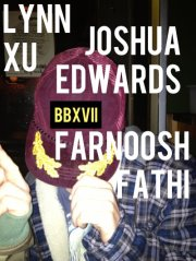 Tonight is  BBXVII with Lynn Xu, Joshua Edwards, and Farnoosh Fathi  representing  Canarium Books  strong. It'll be my second missed  Bad Blood , and this one stings. I'm a fan. Please go in my stead. Take notes for me. Keep Drew and Joseph in check. Tell them tonight my heart is at  ADX /PDX.