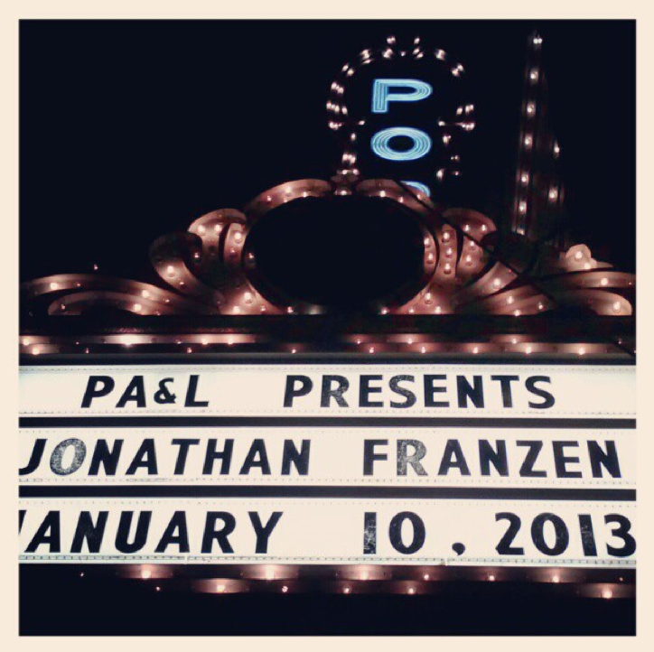 On January 10, 2013, I read three poems from  Fjords  in front of a capacity crowd at the Arlene Schnitzer Concert Hall just before Jonathan Franzen came out to do magic tricks. The event was sponsored by  Oregon Literary Arts , the organization that is hosting the  Oregon Book Awards , for which Fjords is nominated.  Tomorrow night, February 24, at 9 PST, OPB is rebroadcasting the event . Tune in to hear me and Jonathan entertain the biggest crowd (by very far) I've ever read in front of.   I guess this is also a good time to tell you that you can vote for  Fjords  for  The Oregonian's Reader's Choice Awards,  you know, if you're a reader, and want to choose it. It takes less time than brushing your teeth. But, also, you should brush your teeth for longer.