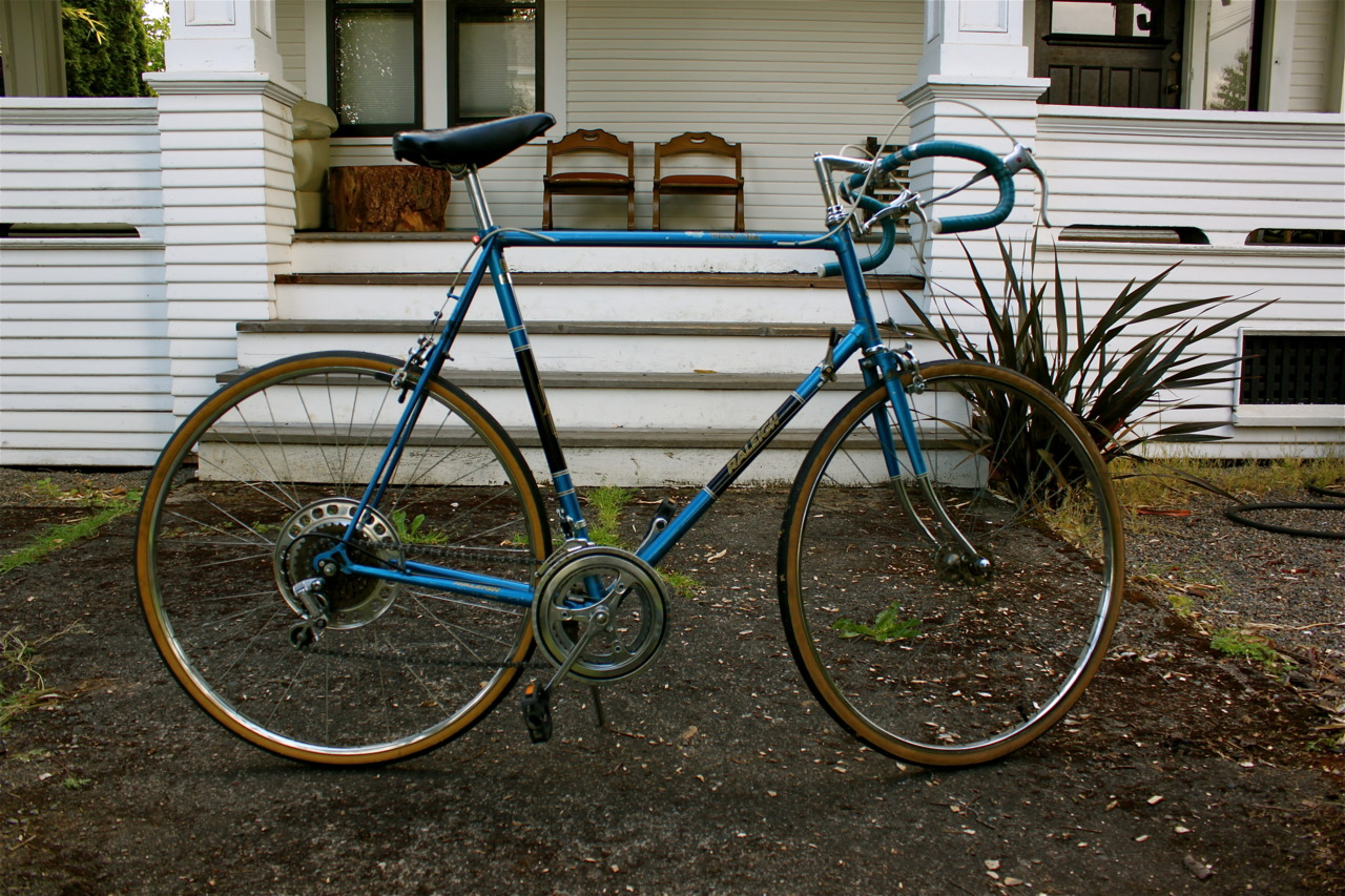 Check out my new ride, a 1980 Raleigh Grand Prix. I rescued it and put a bunch of new parts on it. Now I got two bikes, so when you visit me in PDX, we can leave my neighborhood.