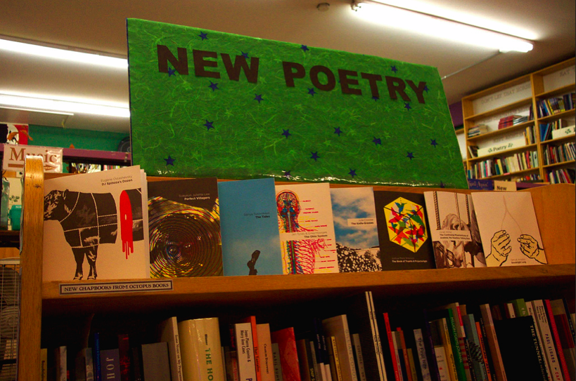 Clay Banes just showed me this photo he took of the first set of Octopus Books chapbooks on the poetry bookshelf at Pegasus Books back in February of 2007. Anybody still have this whole set? Somehow, I don't.