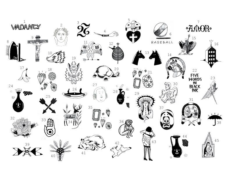 Jason Sturgill  curated  Art is Forever  which is a project happening at tomorrow's  Shine A Light  events at the Portland Art Museum. Ten local illustrators created tattoos inspired by the museum's collection, and tattoo artists will be on hand to tattoo anyone who wants one for free. These are my options. Any votes on what I should get?