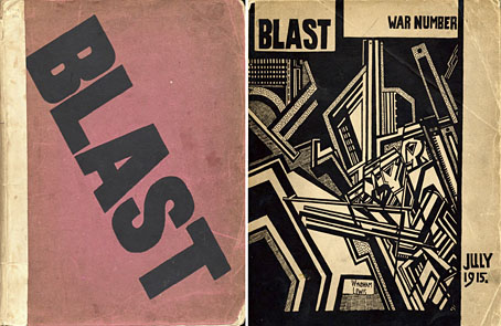 I found both issues of the 1981 Black Sparrow reprints of the old Wyndham Lewis Futurist literary magazine,  Blast . James Gendron, Emily Kendal Frey, and Jamalieh Haley and I used a page in the second issue for a stop/go animation erasure project for the Poor Claudia Benefit at Holocene tomorrow night. Maybe I'll show you the video later. Ok?
