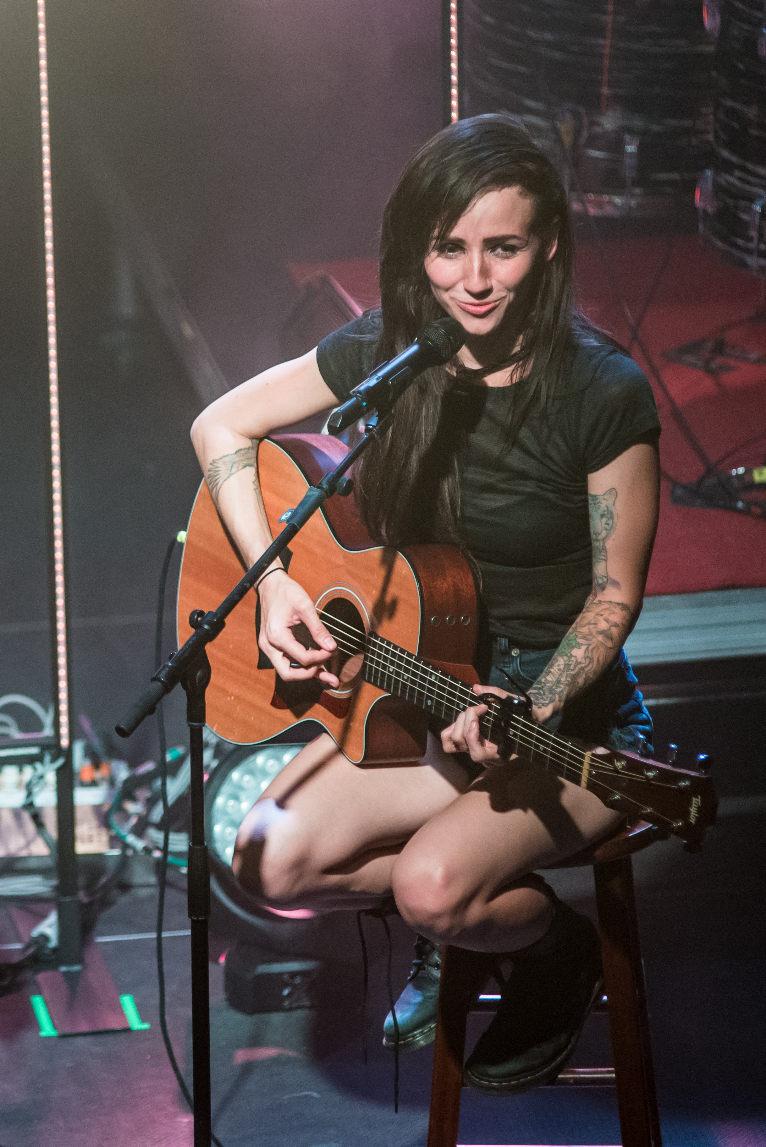 A smile of appreciation as LIGHTS concludes her first acoustic song and the crowd goes wild.