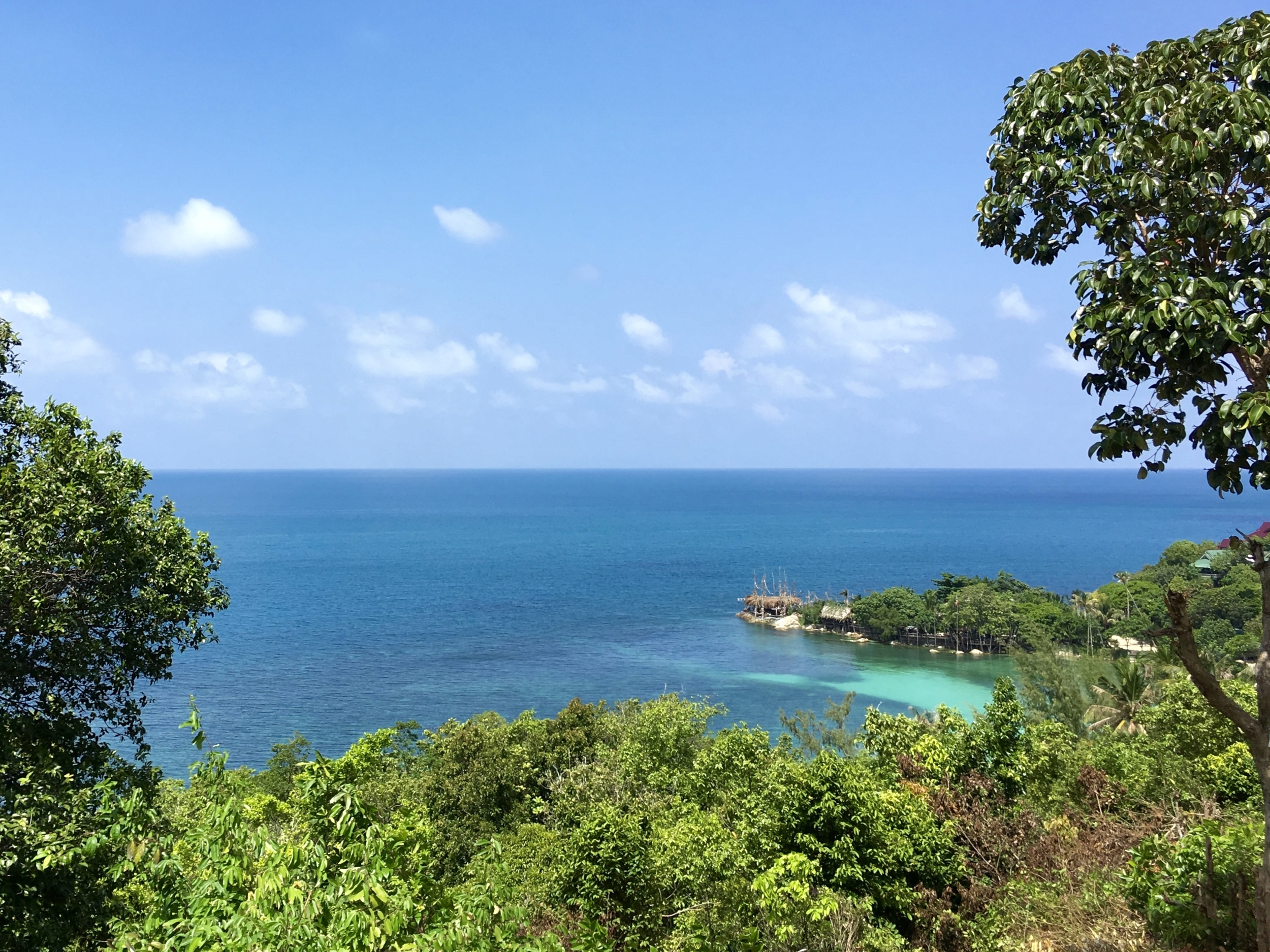 Stopping for a view atop one of Koh Pha Ngan's many steep hills.