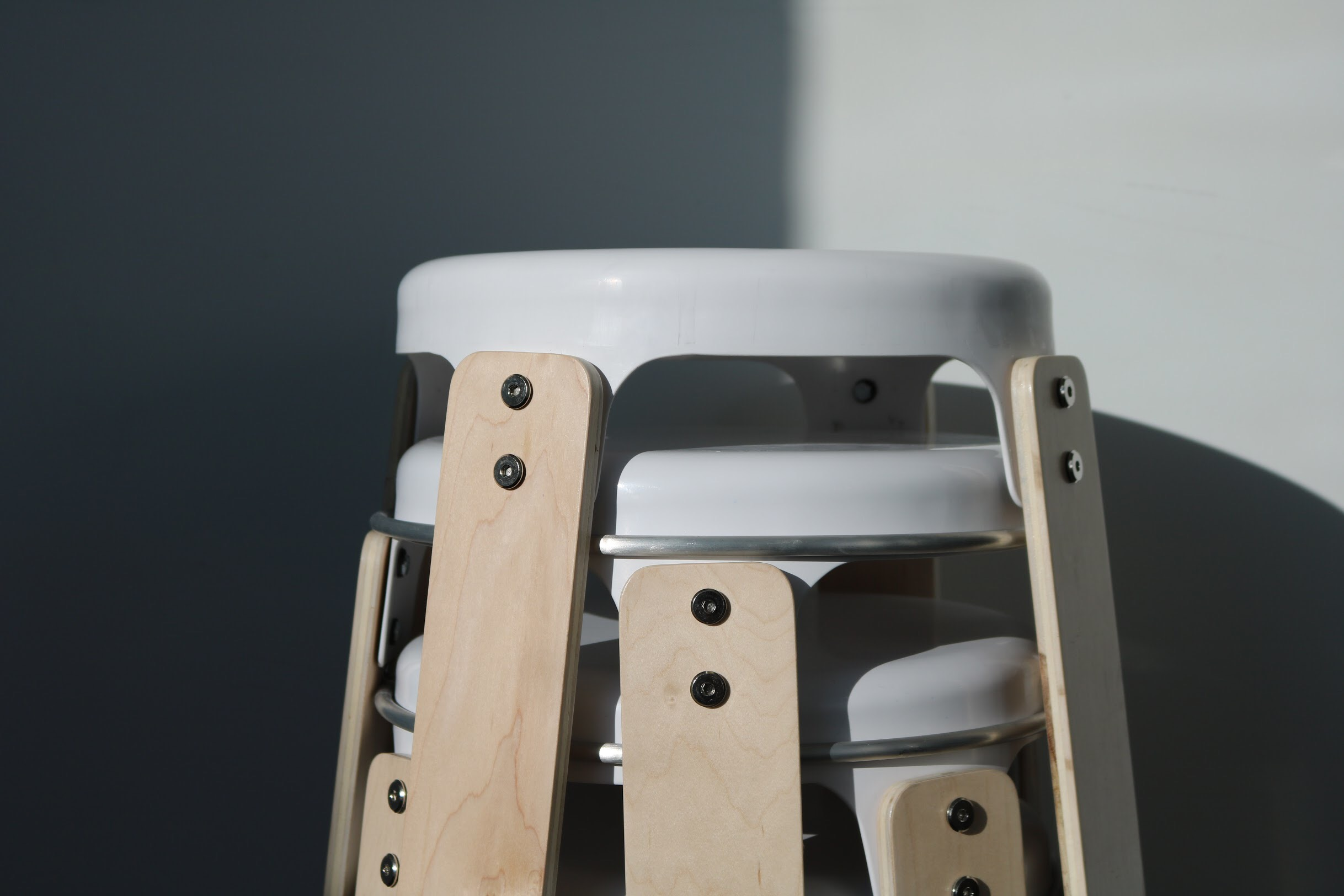 Compact, portable, friendly. - The Core Stool stacks one on top of the other. This allows the stools to take up as little space as possible, while remaining easy to pull apart.