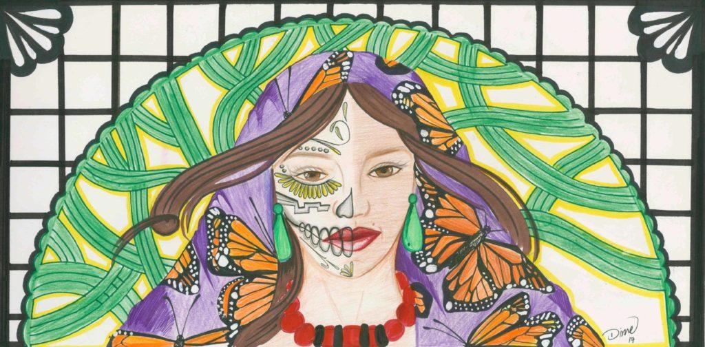 Dime won the Dia de los Muertos Festival Poster Art Contest last year