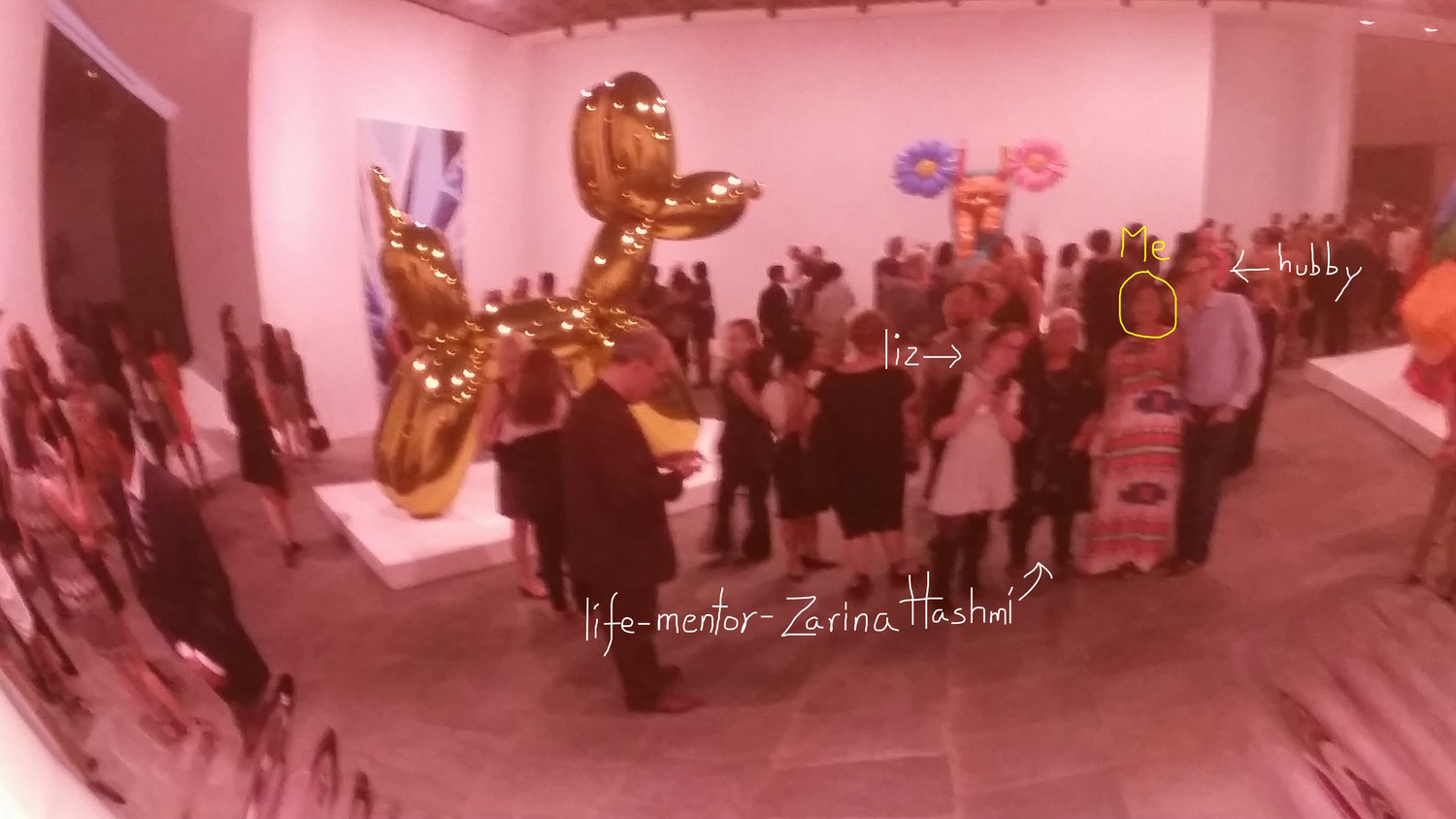 Reflection - Selfie of me and my posse in a shiny Jeff Koons sculpture.