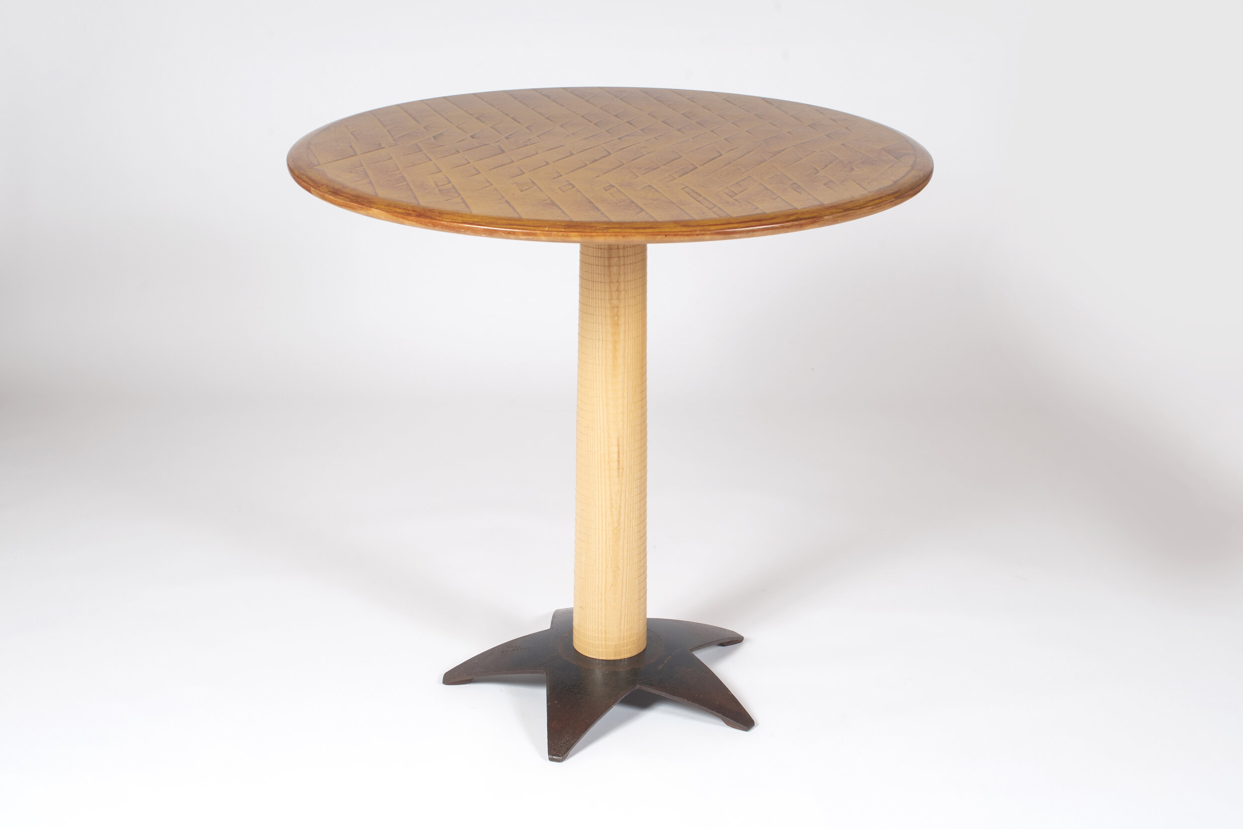 "Game Table - $1200.00   36"" dia x 36"" h  Textured Cherry Top, Textured Ash Post, Steel Disc Base"